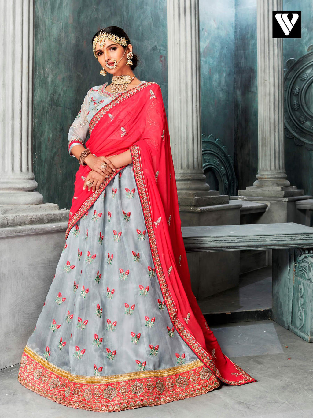 Grey Colored Organza Lehenga Saree