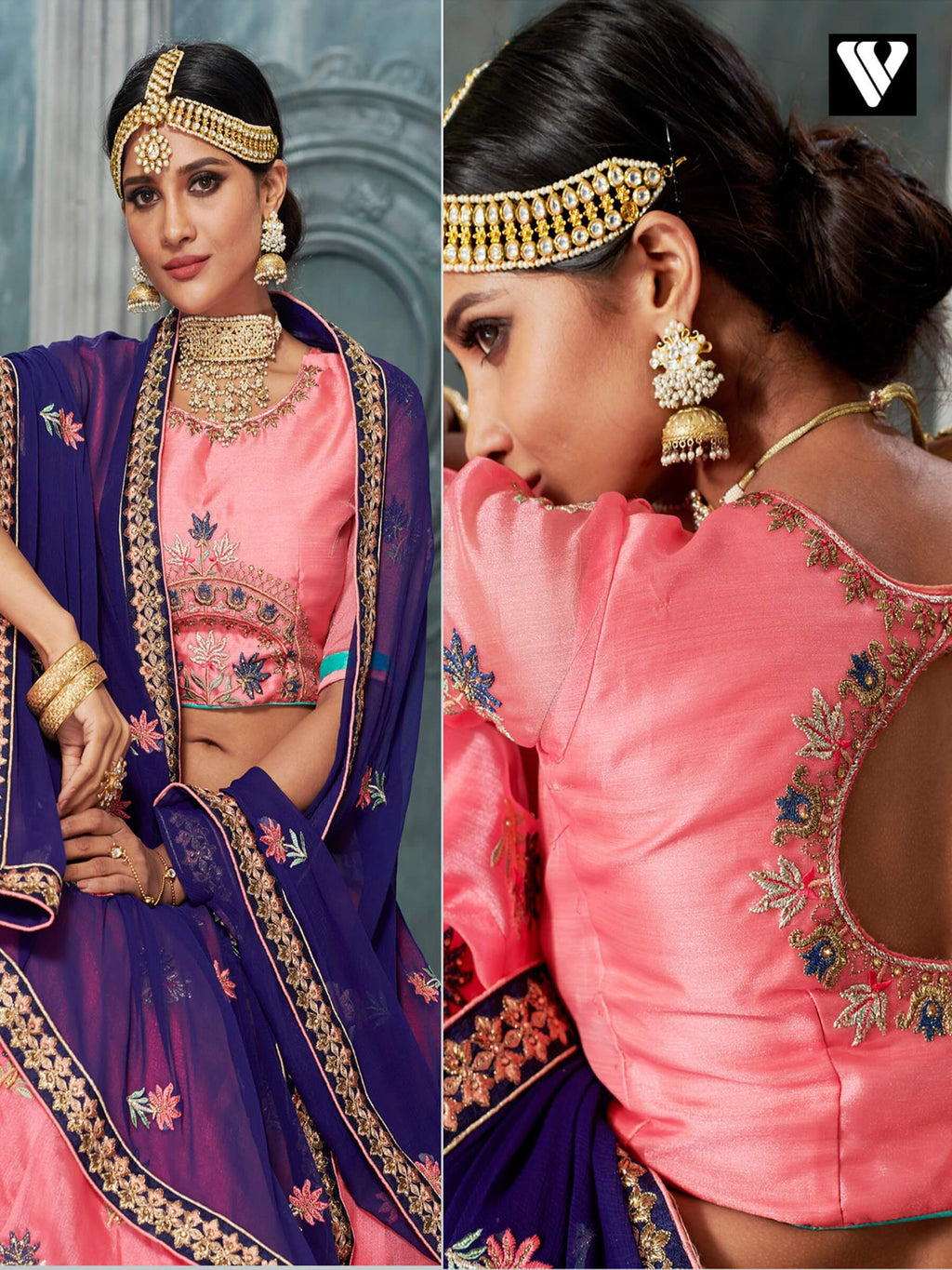Fashionable Pink Organza Lehenga Saree Collection