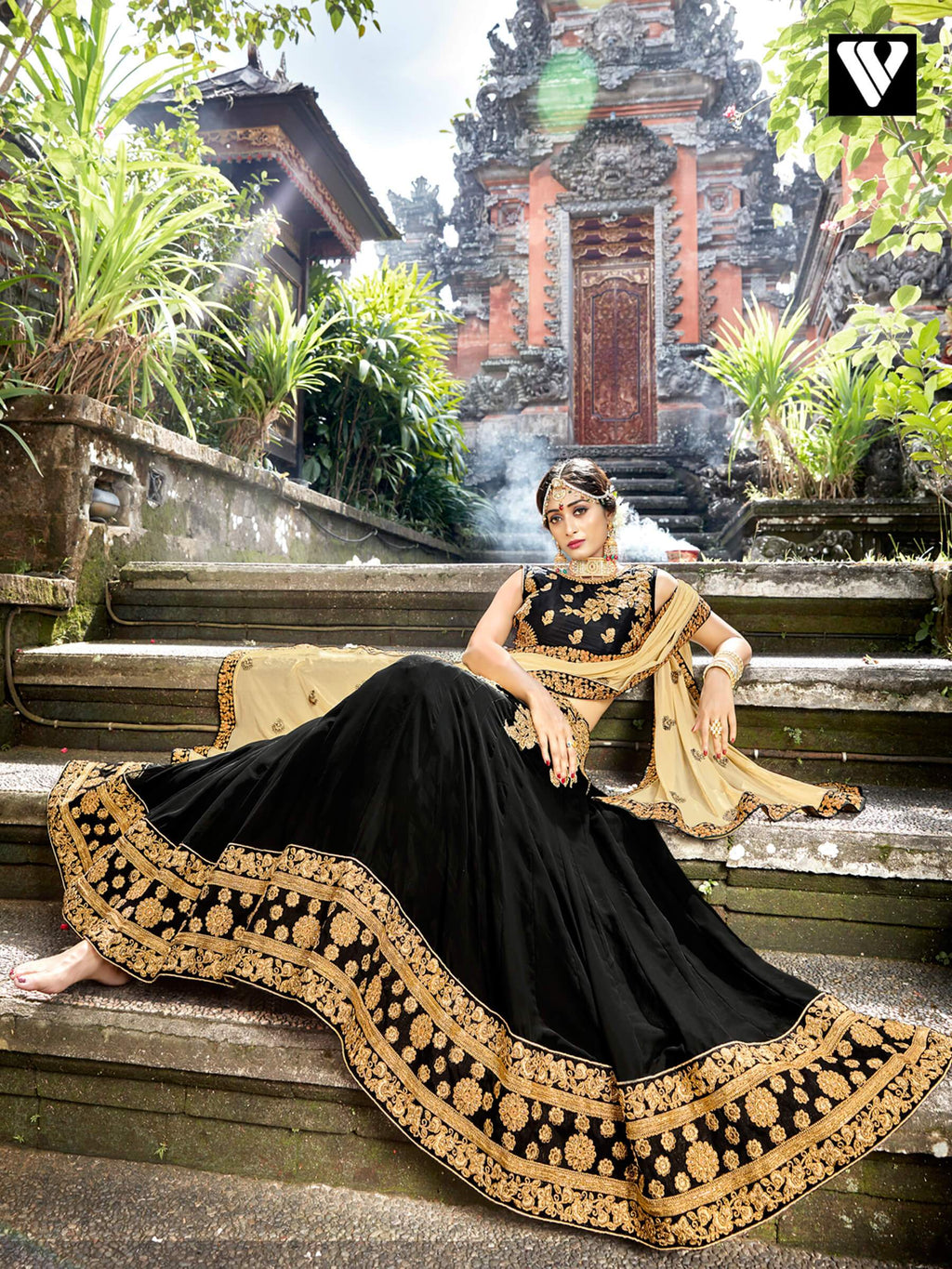 Designer Chiffon Lehenga Saree In Black