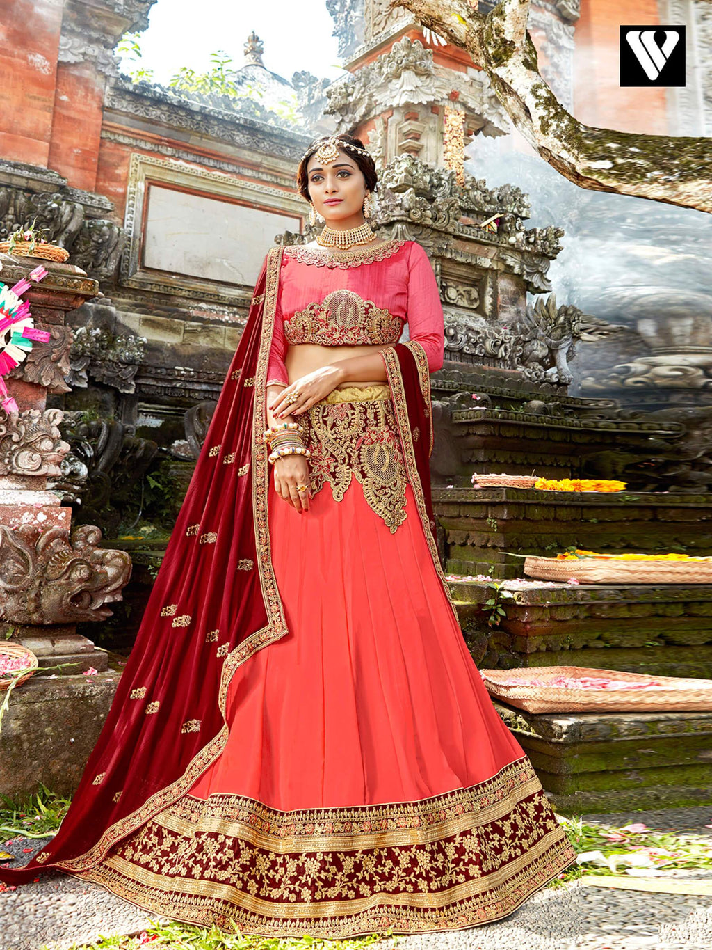 Elegant Design Chiffon Lehenga Saree In Peach