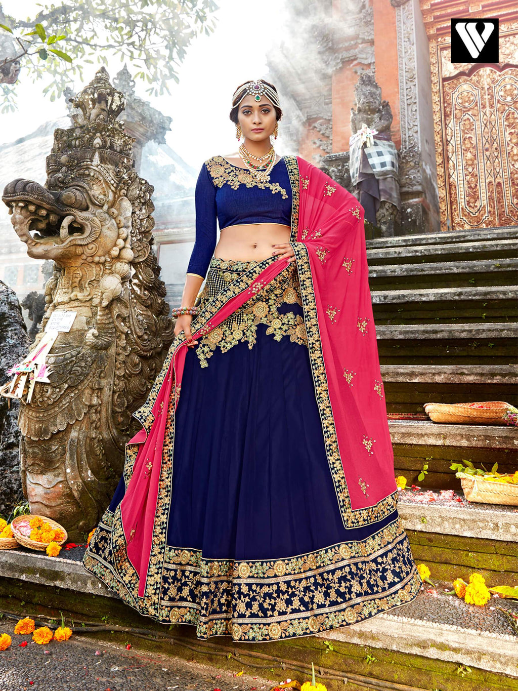 Lehenga Saree With Chiffon Fabric And Blue Color