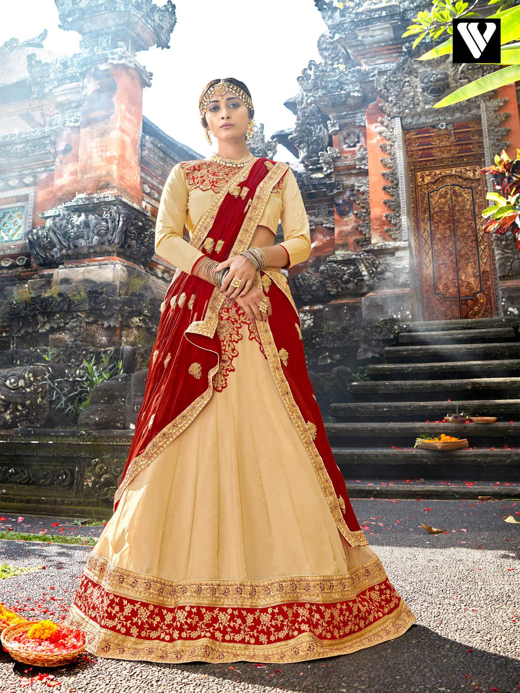 Chiffon Fabric And Cream Color Lehenga Saree