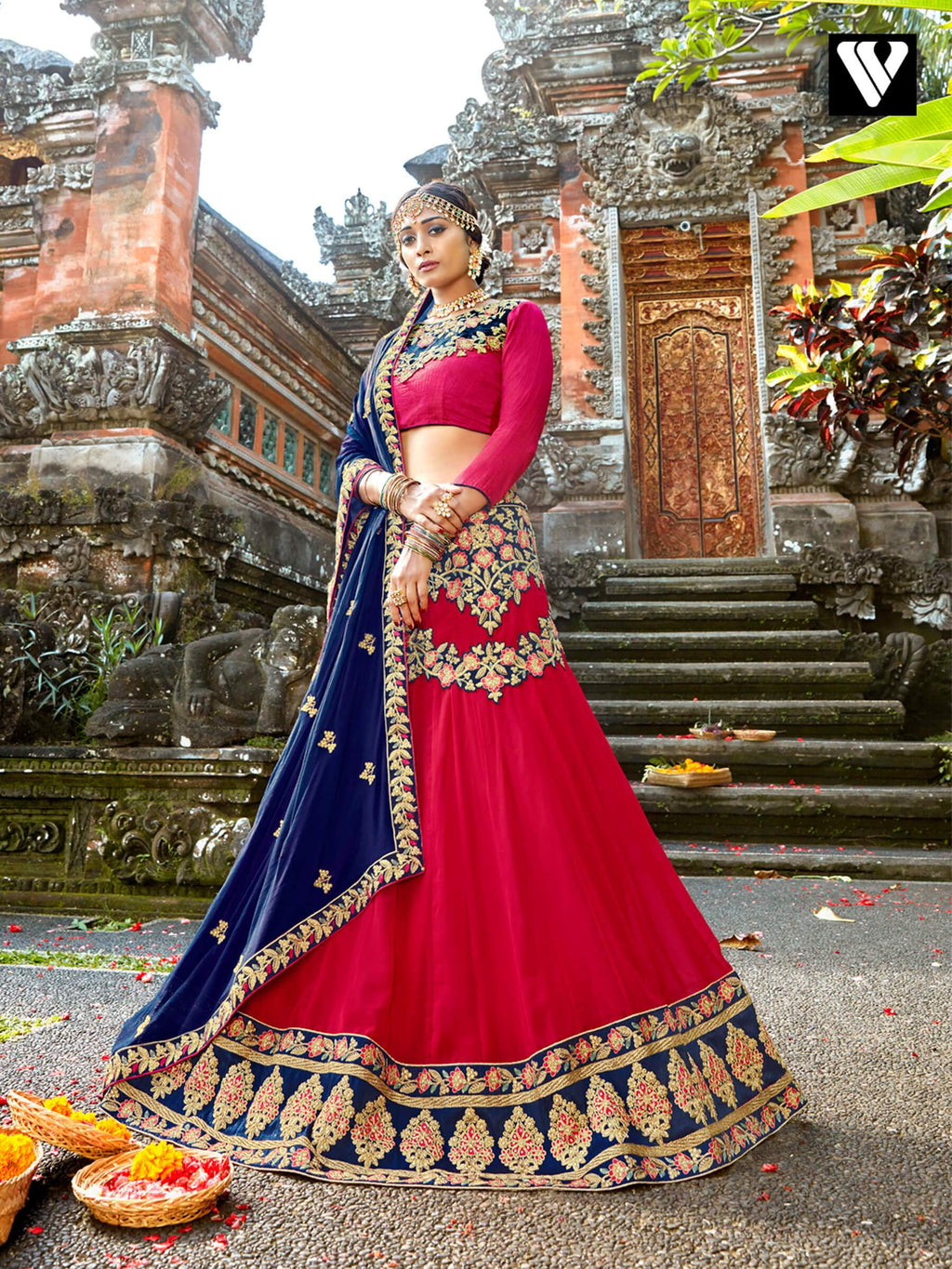 Nice Chiffon Fabric And Pink Color Lehenga Saree