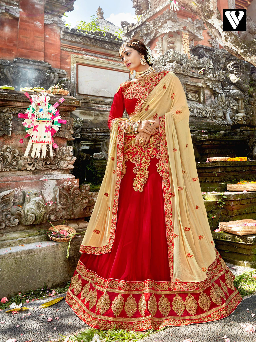 Stylish Chiffon Fabric And Red Color Lehenga Saree
