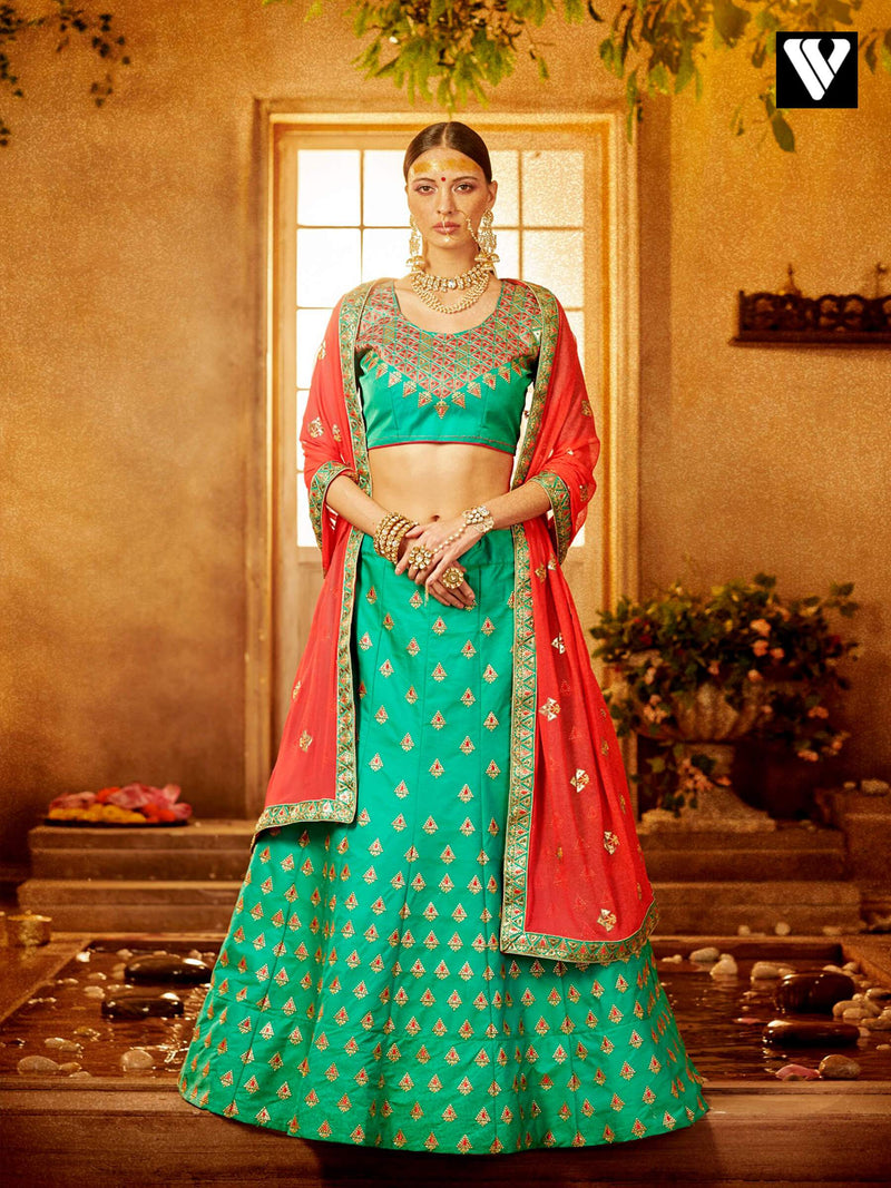 Tantalizing Green Color Art Silk Lehenga Choli With Embroidery Design