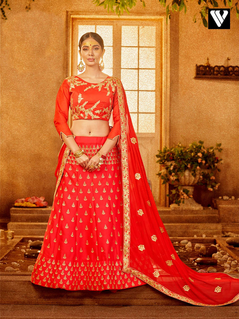 Reception Wear Red Color Embroidered Lehenga Choli In Art Silk