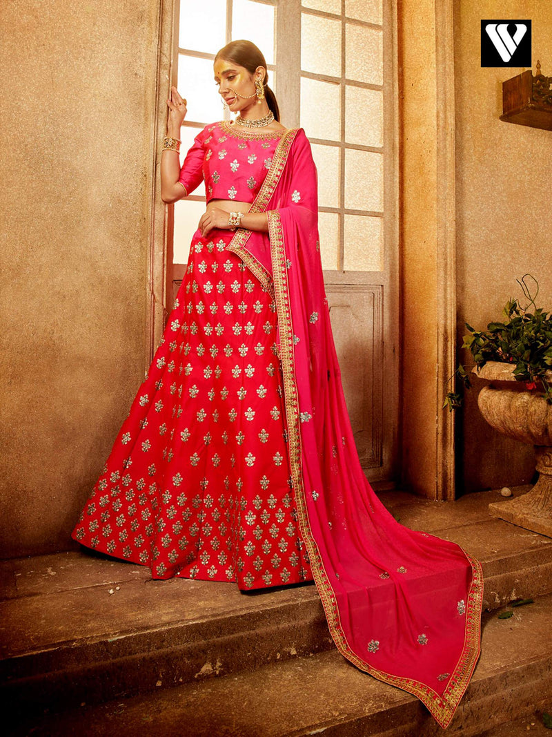Reception Wear Red Color Embroidered Lehenga Choli In Art Silk Fabric