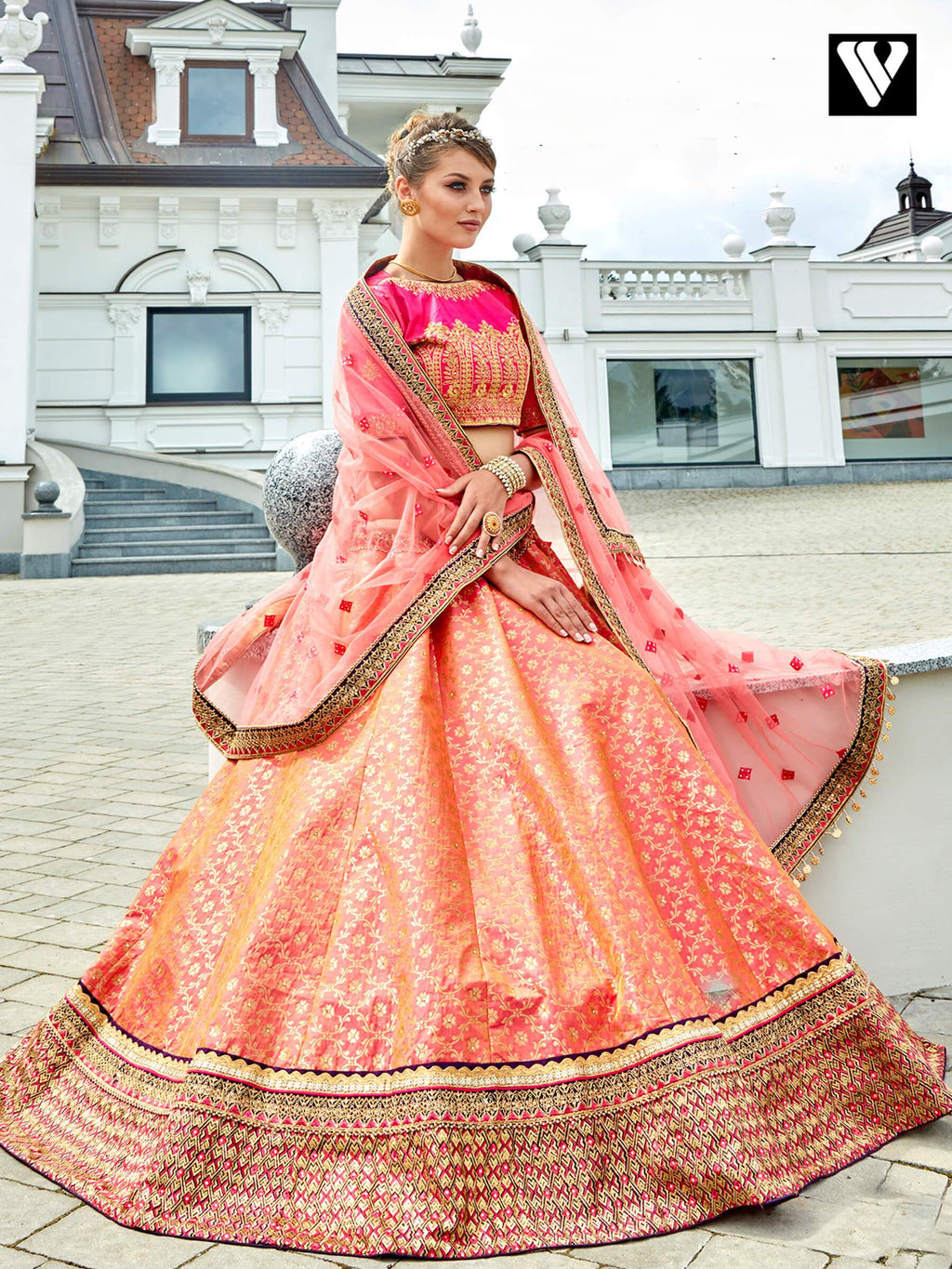 Dramatic Light Salmon Jacquard Wedding Lehenga