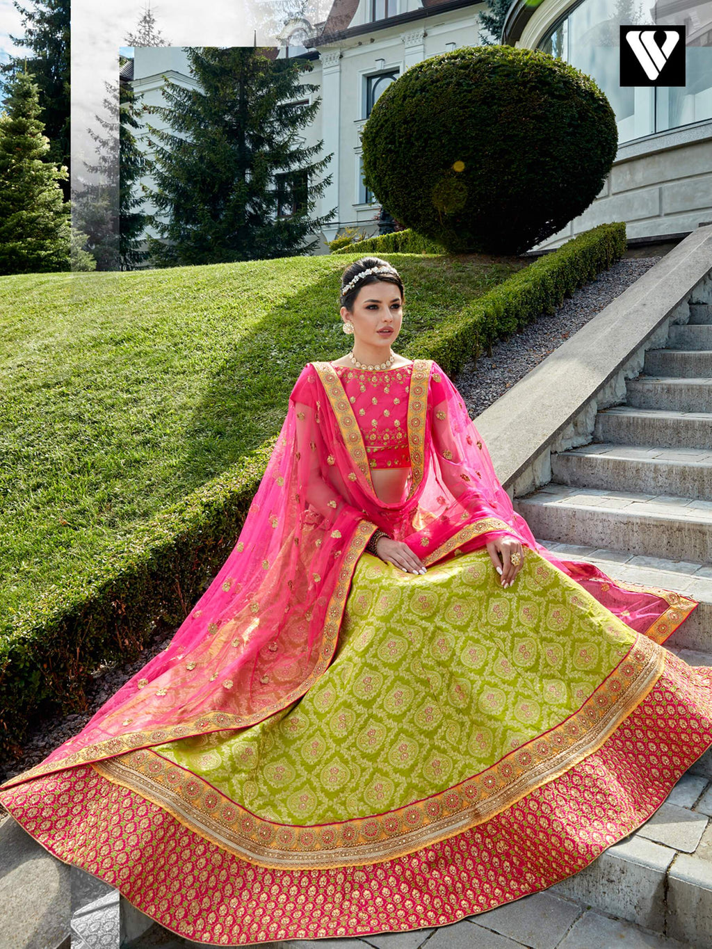 Dramatic Lime Green Jacquard Wedding Lehenga