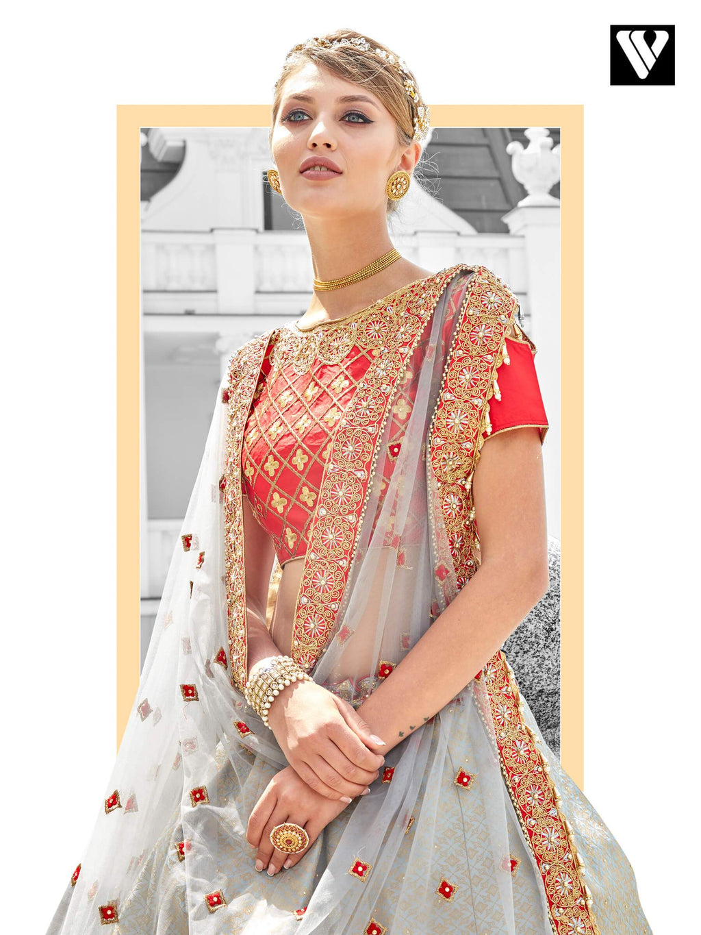 Dramatic Light Gray Jacquard Wedding Lehenga