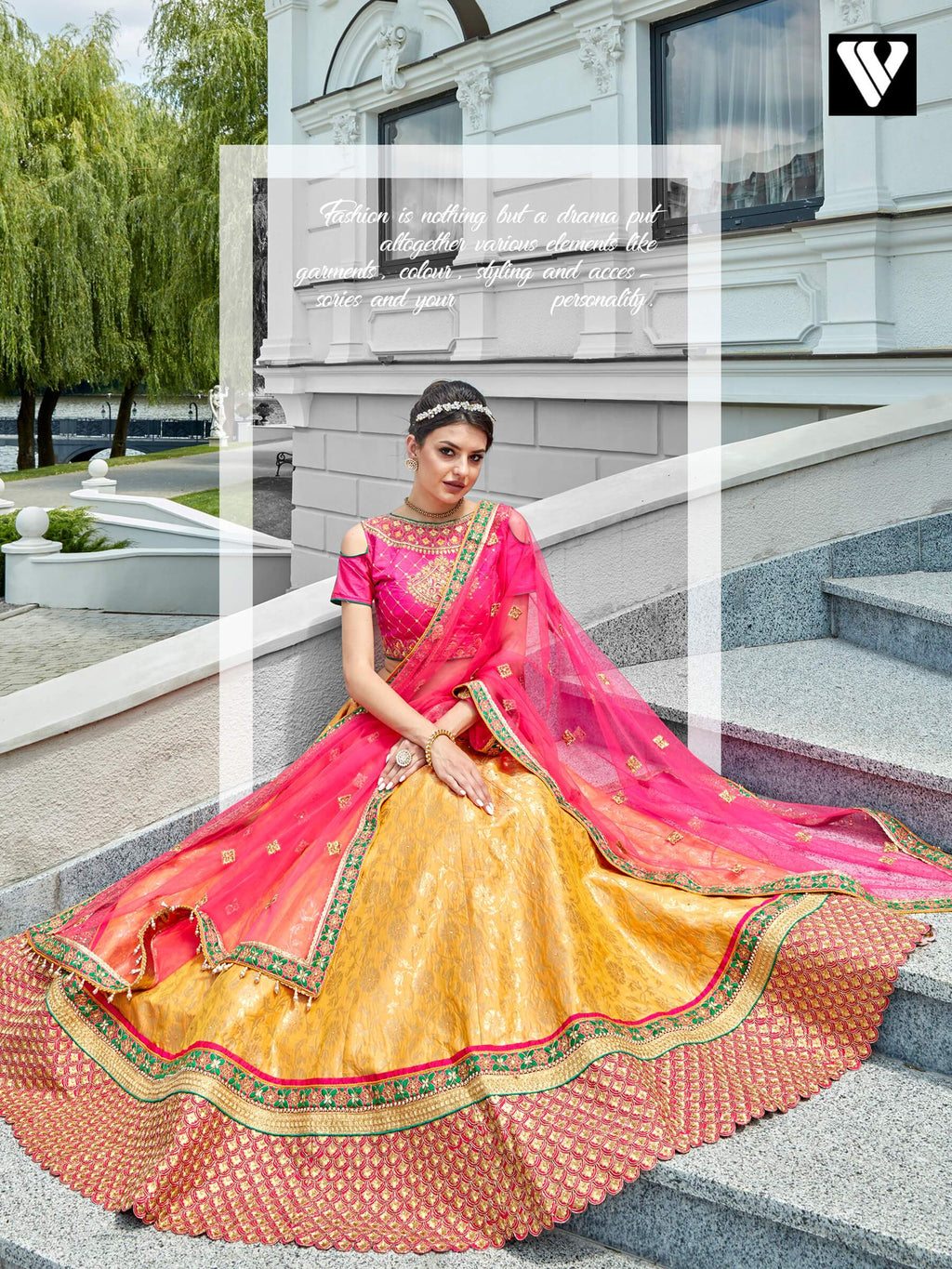 Dramatic Pink Yellow Jacquard A-Line Wedding Lehenga