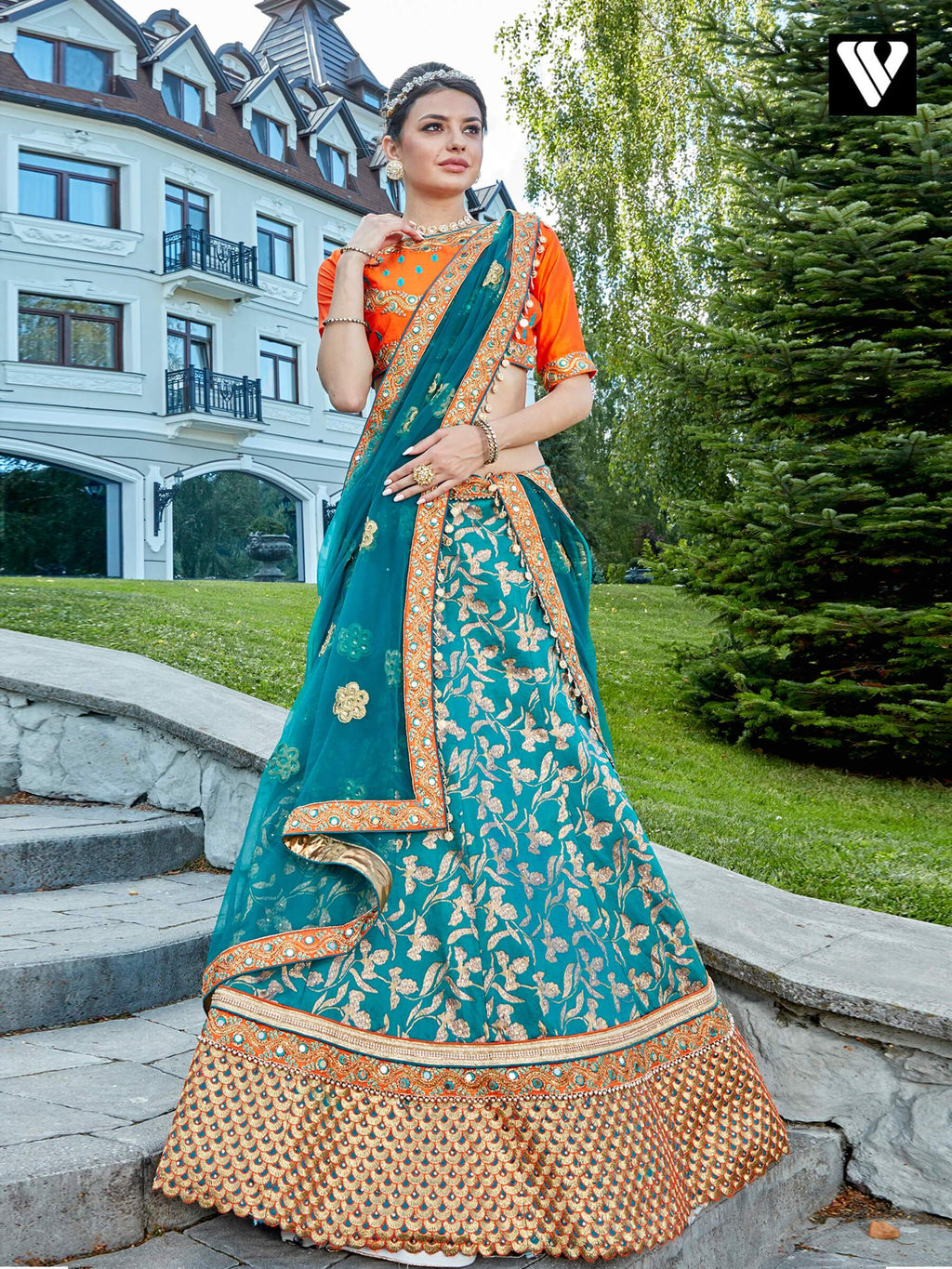 Dramatic Teal Blue Jacquard Wedding Lehenga