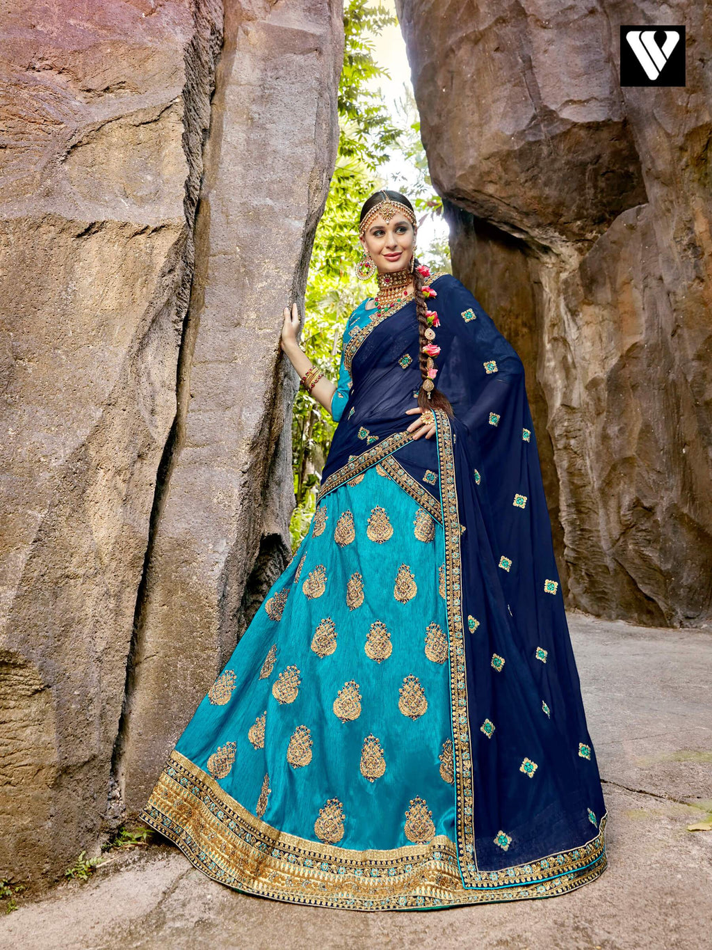 Deep Sky Blue Raw Silk Embroidered Party Lehenga Choli