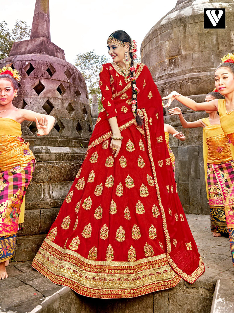 Carnelian Red Raw Silk Embroidered Party Lehenga Choli