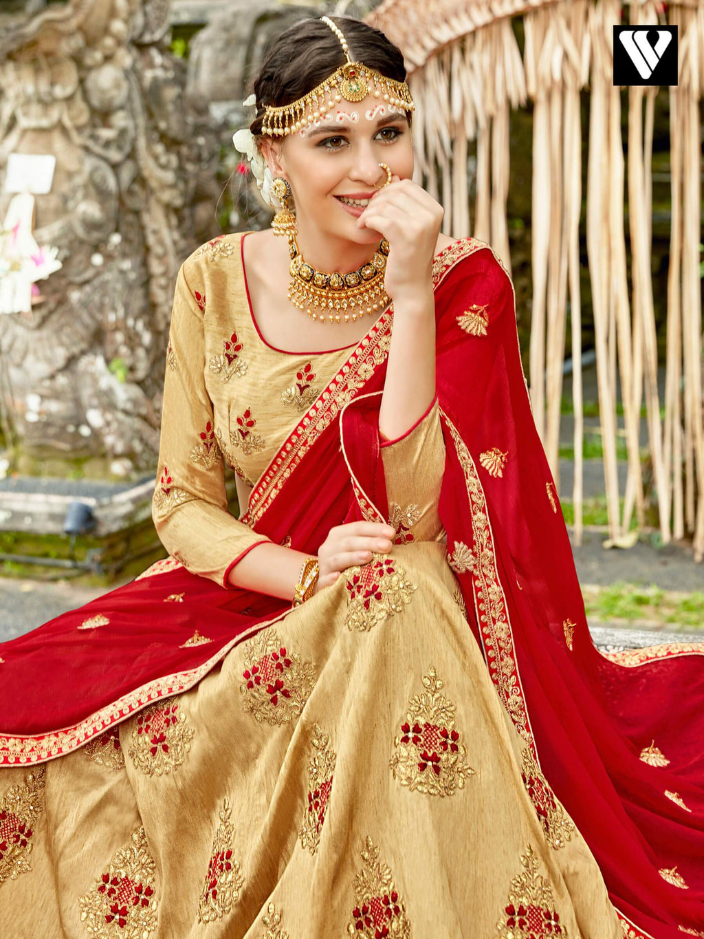 Cream Yellow Raw Silk Embroidered Party Lehenga Choli