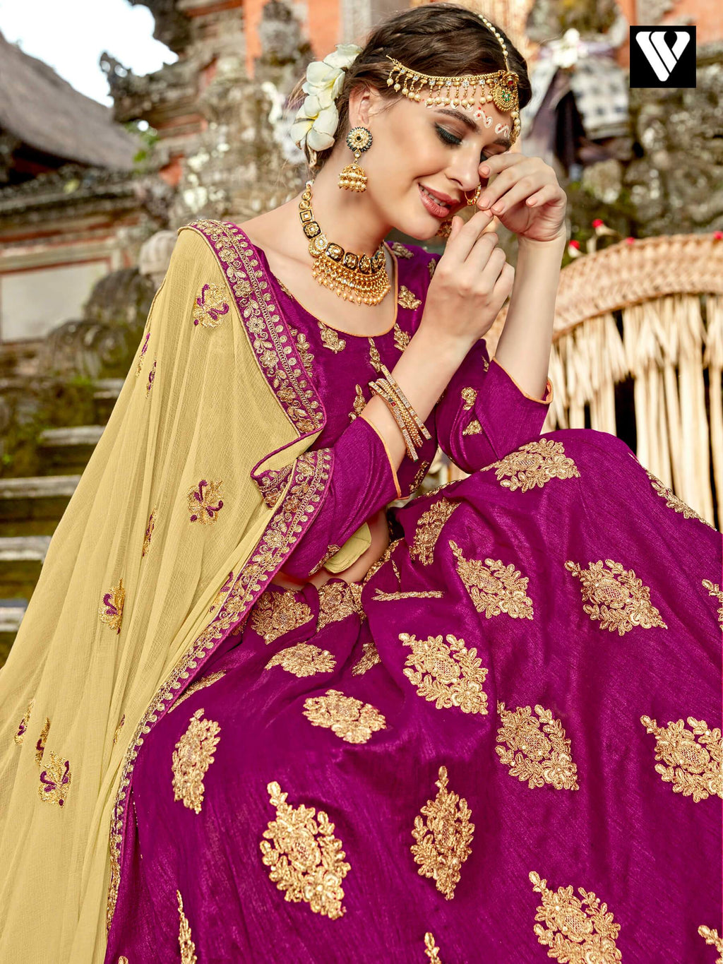 Admired Magenta Silk Crop Top Lehenga Choli