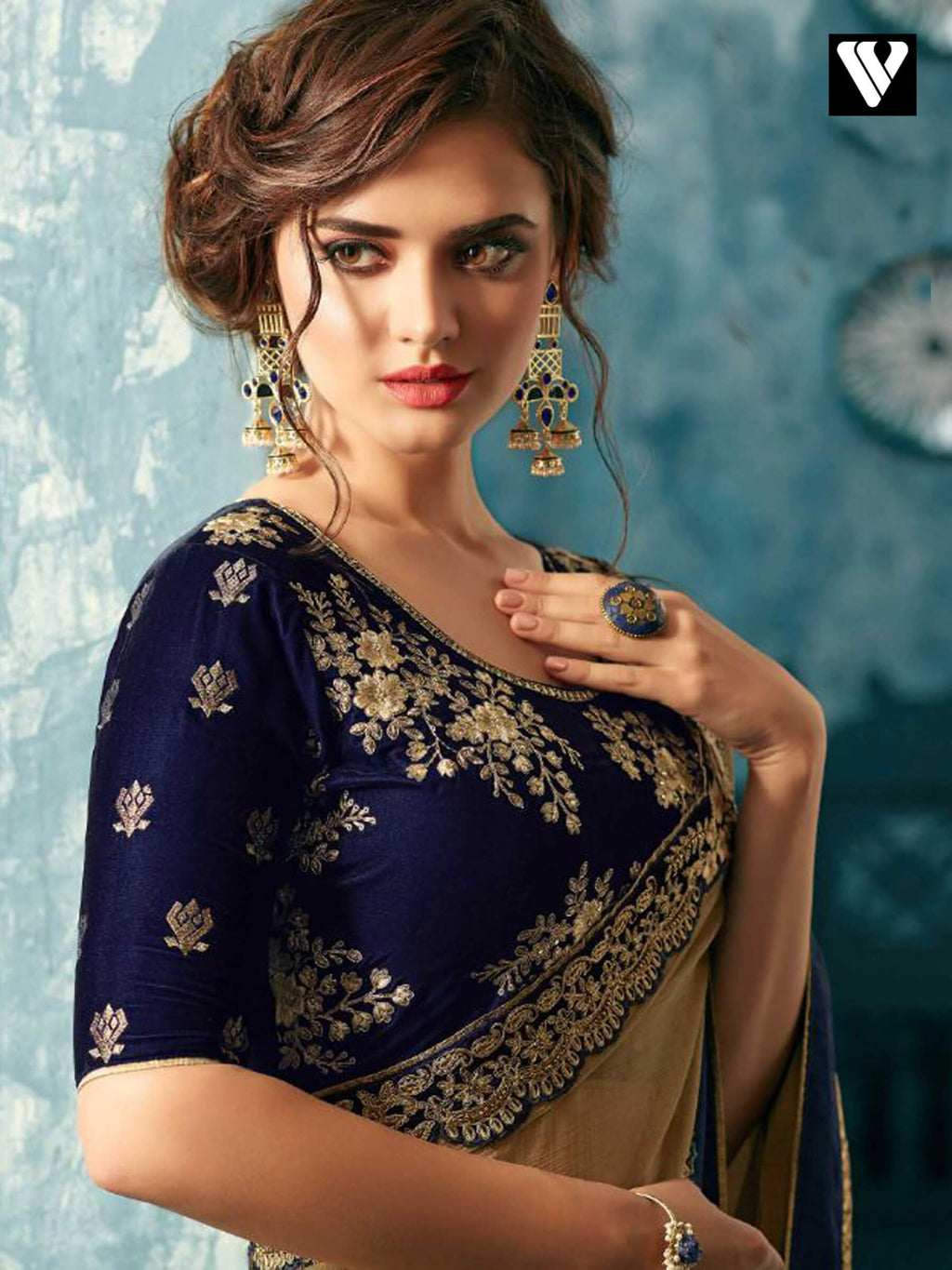 Blue and Gold Embroidered Silk Chiffon Saree