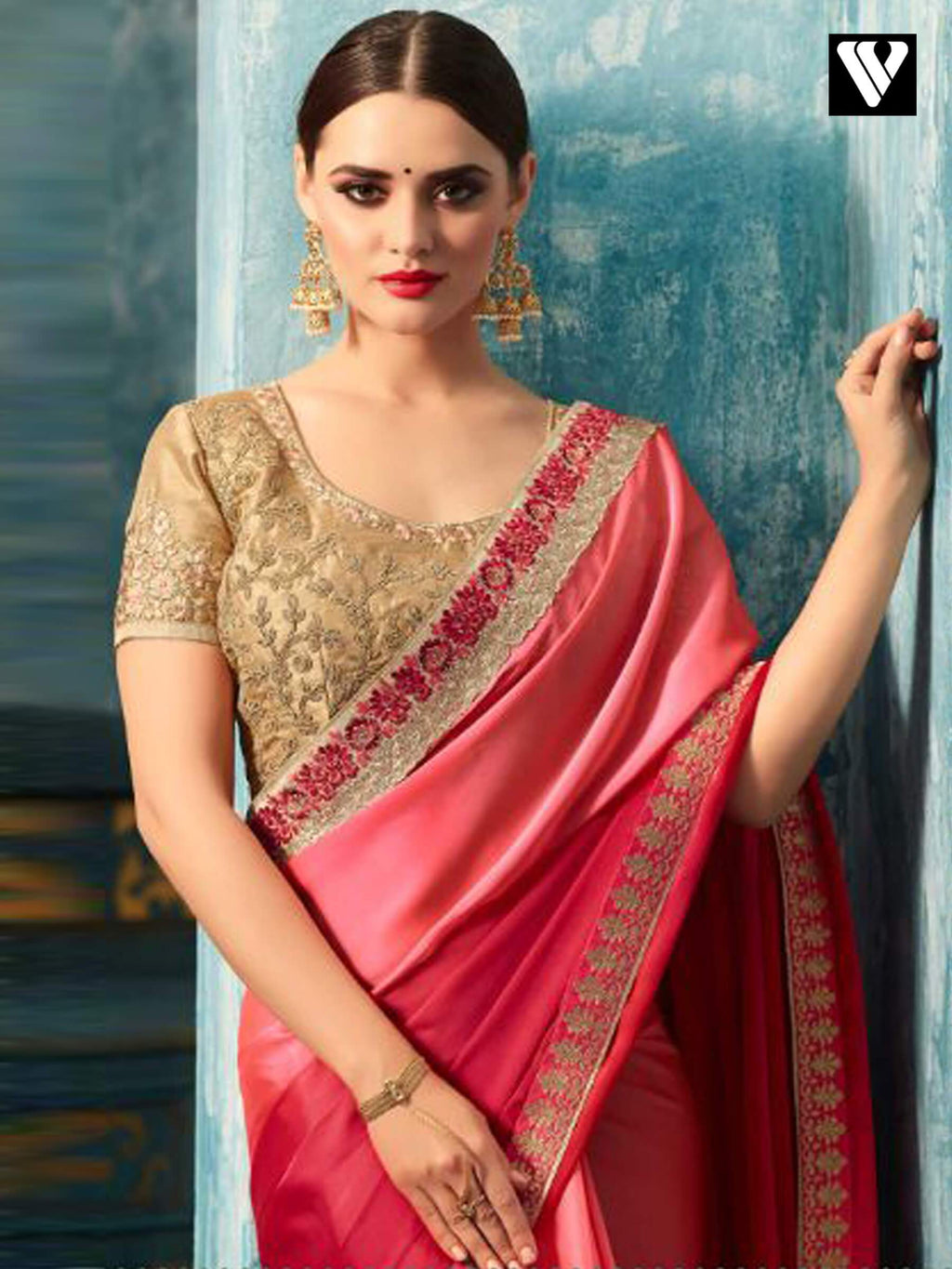 Pink and Beige Embroidered Silk Georgette Saree