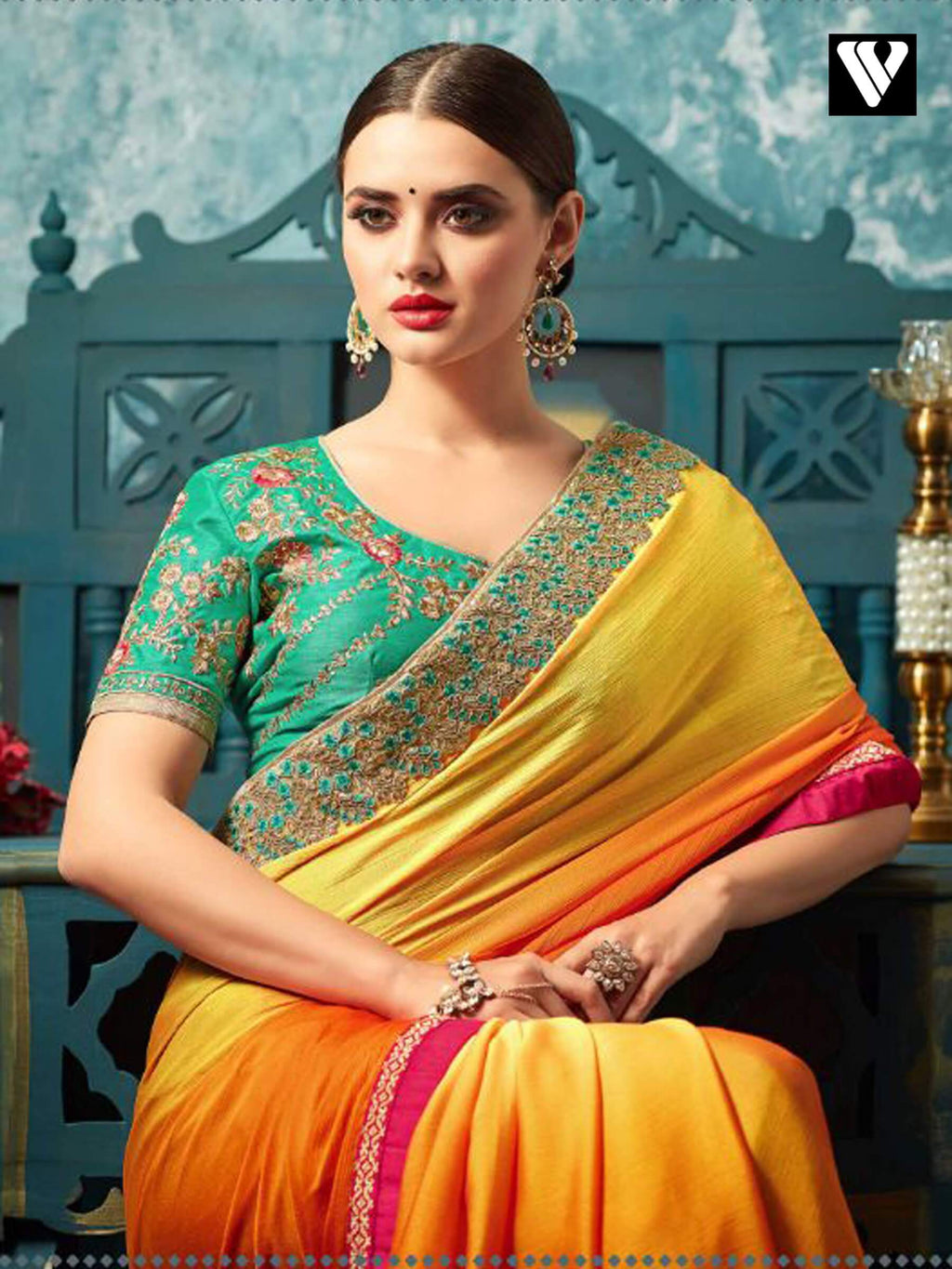 Art Silk And Chiffon Orange Party Wear Saree with Embroidery Work