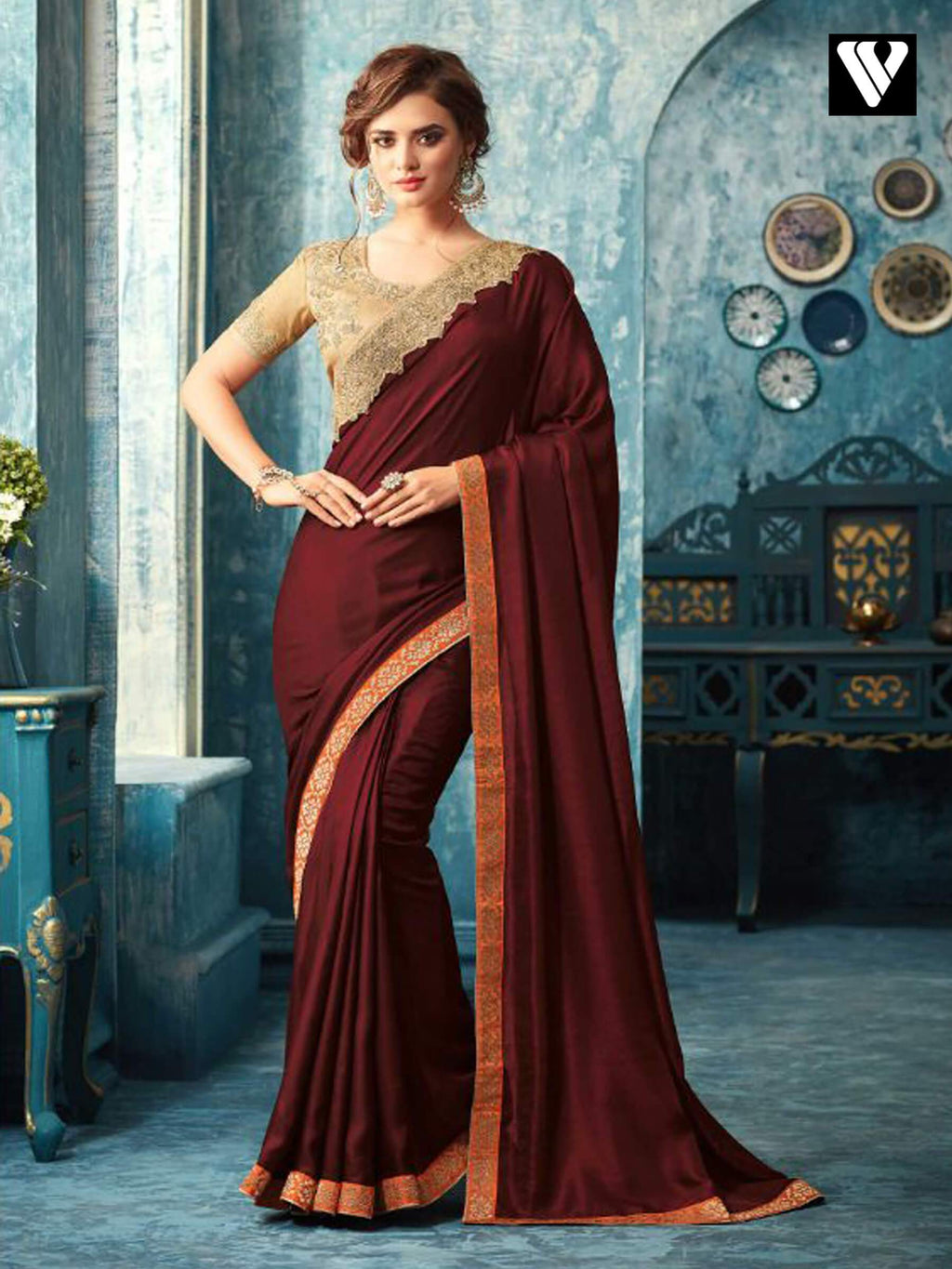 Wine and Beige Embroidered Silk Saree