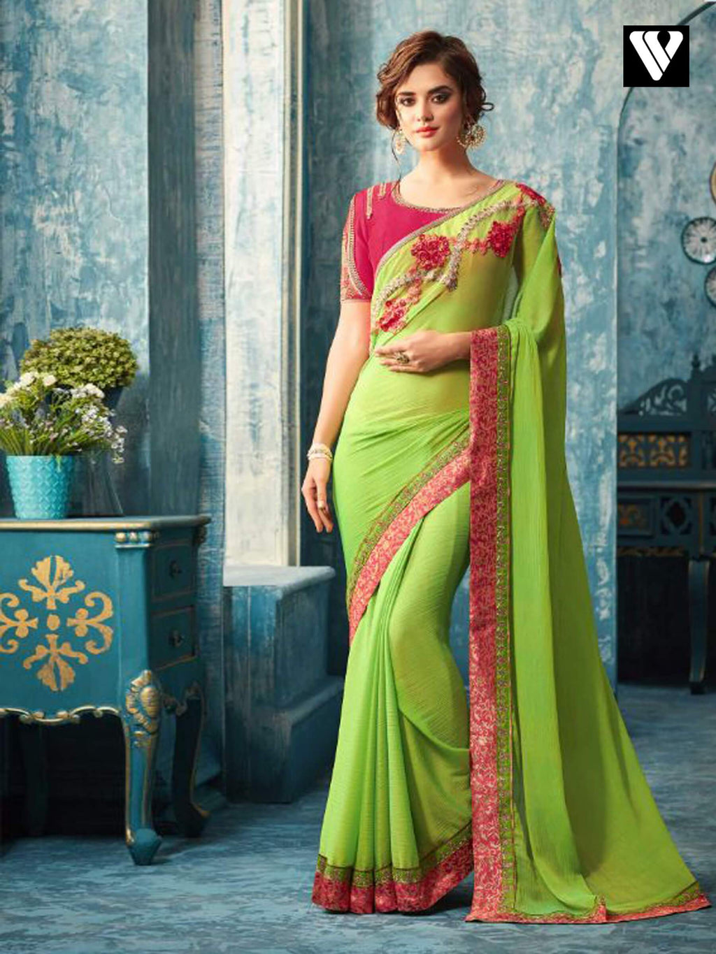 Green and Pink Embroidered Silk Chiffon Saree
