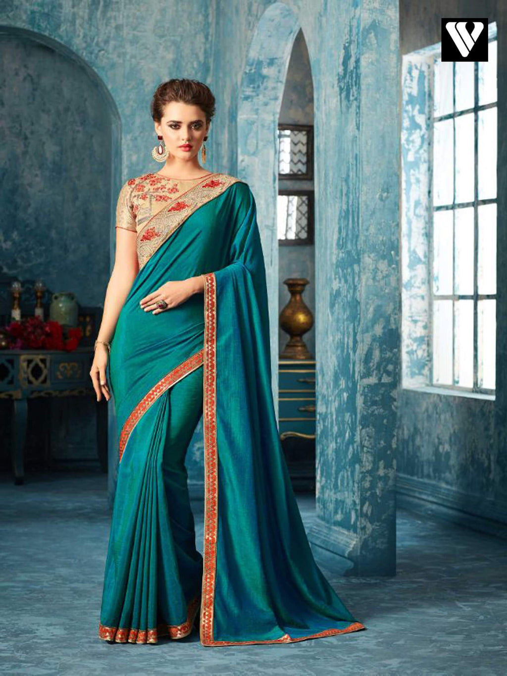 Teal and Beige Embroidered Silk Saree
