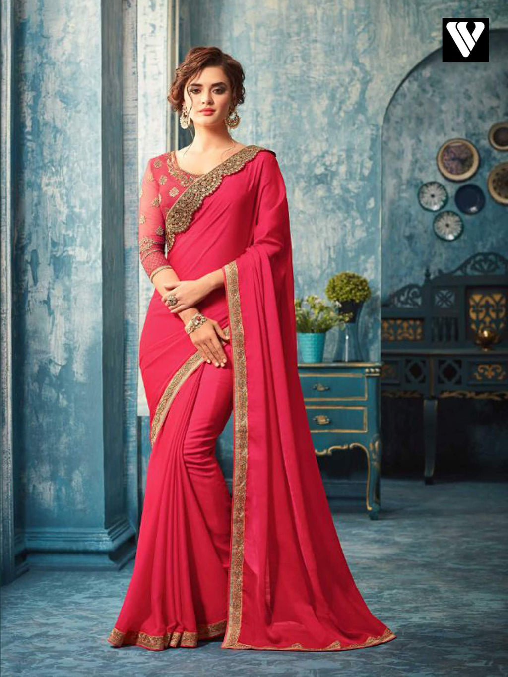 Deep Pink Embroidered Silk Party Wear Saree