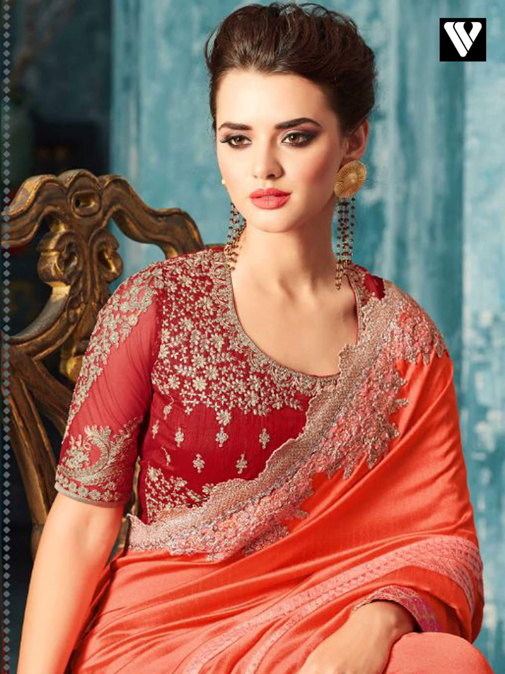 Tomato and Crimson Embroidered Silk Party Wear Saree