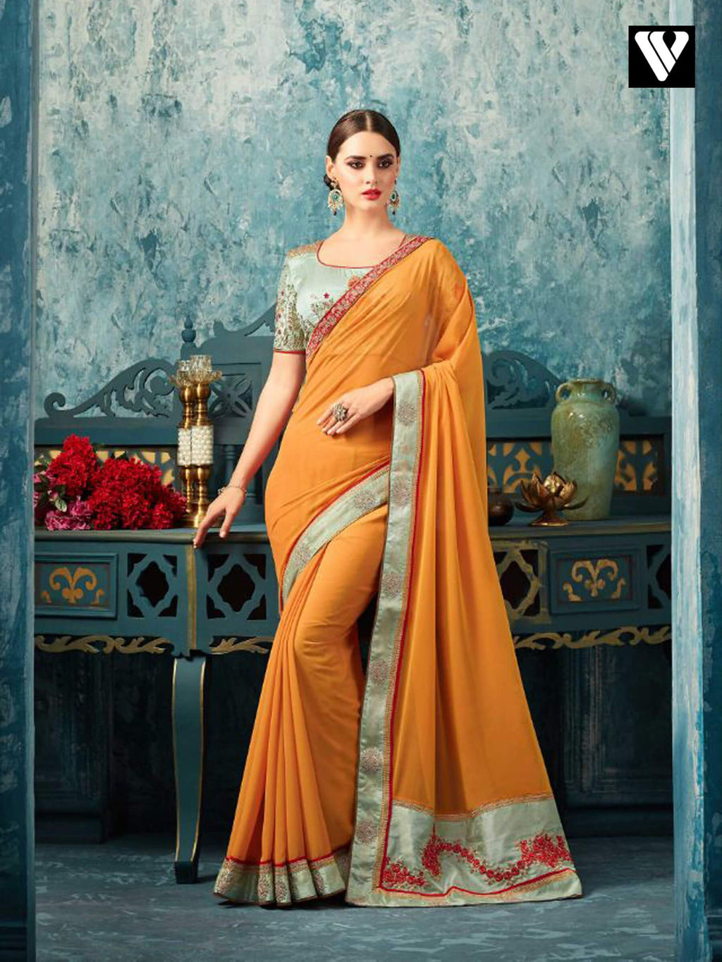 Embroidery Work On Mustard Party Wear Saree In Georgette With Designer Blouse
