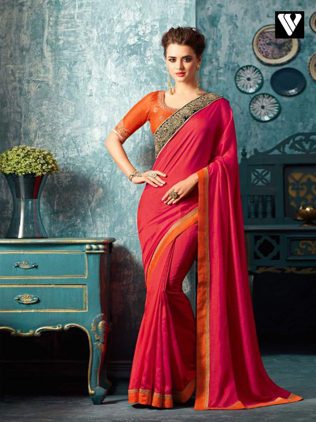 Crimson and Orange Embroidered Silk Saree