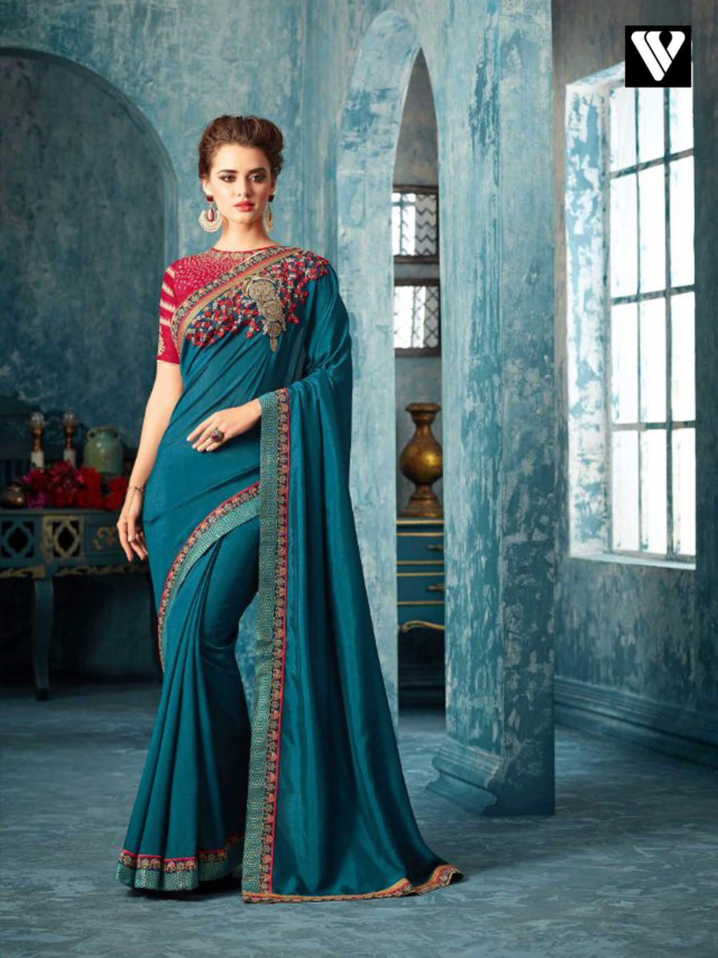 Teal Art Silk With Embroidery Design Party Wear Saree