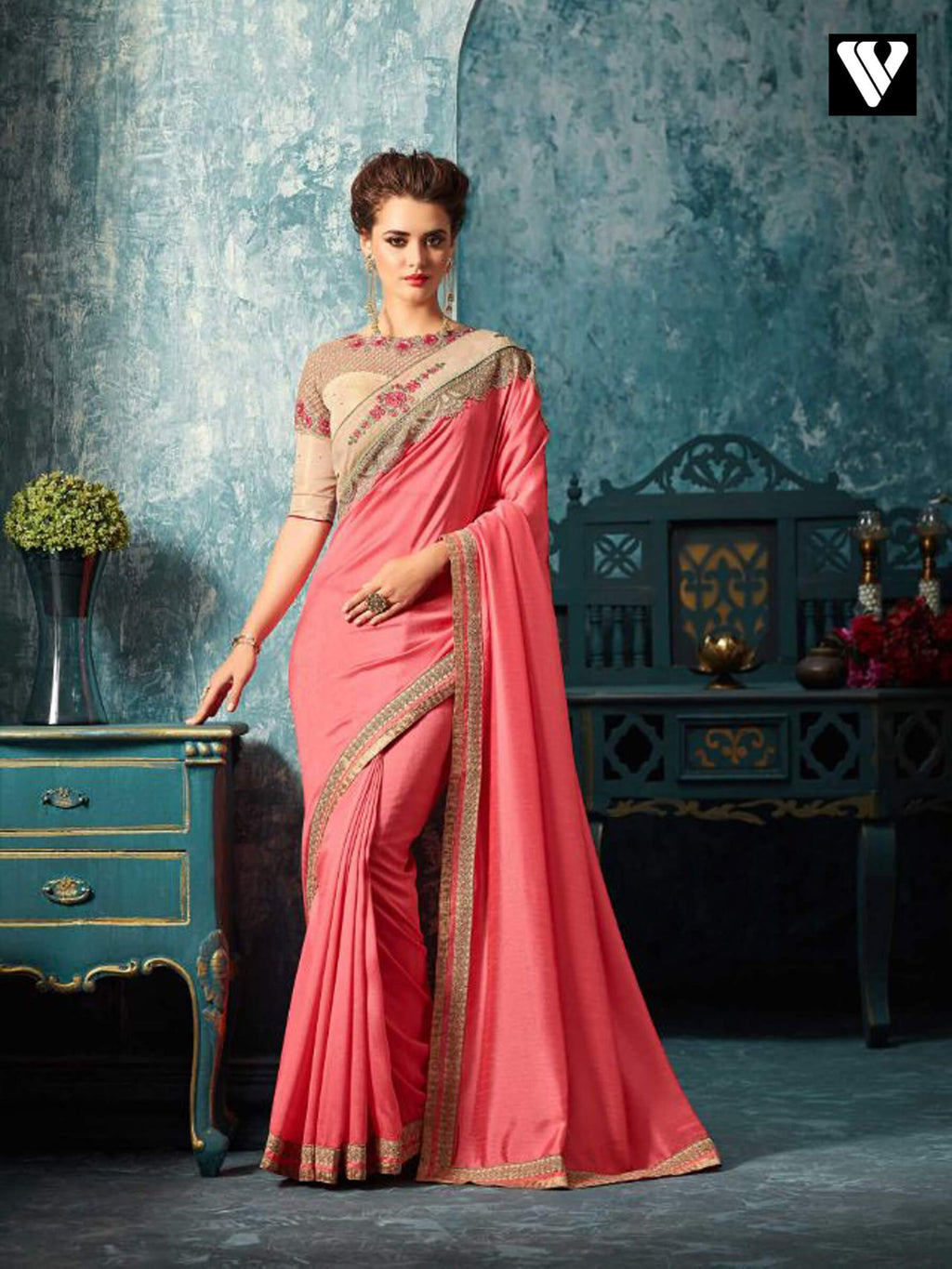Pink and Cream Embroidered Silk Saree