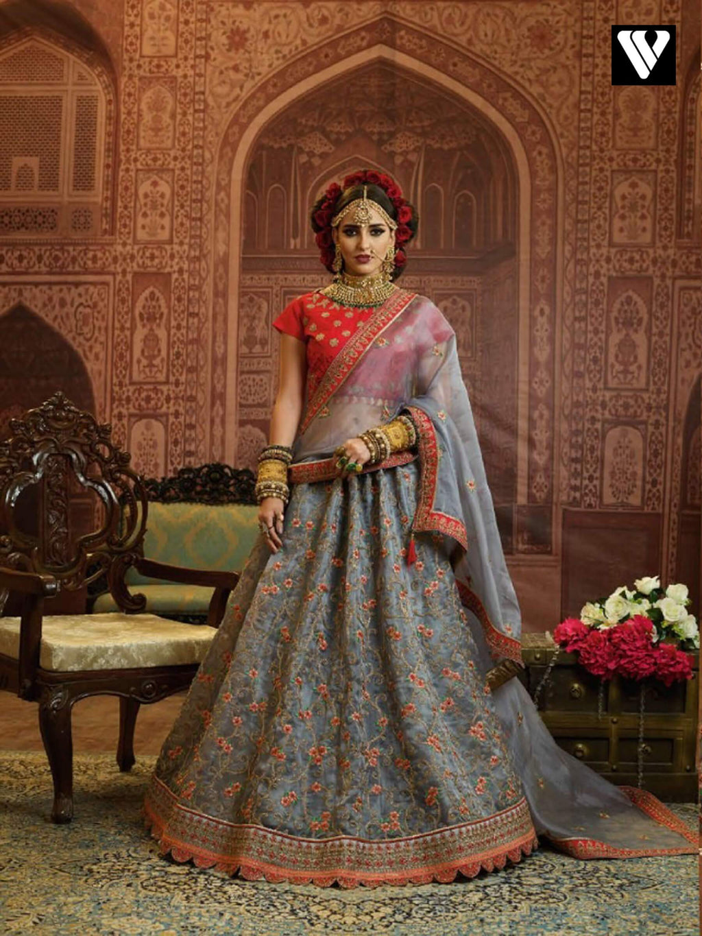 Grey Organza Wedding Wear Heavy Embroidery Work Lehenga Choli