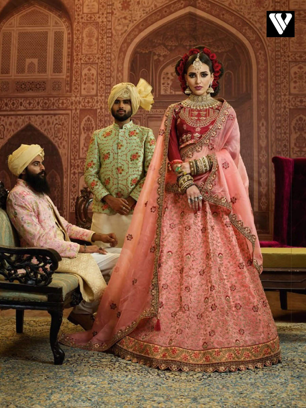 Peach Organza Wedding Wear Heavy Embroidery Work Lehenga Choli