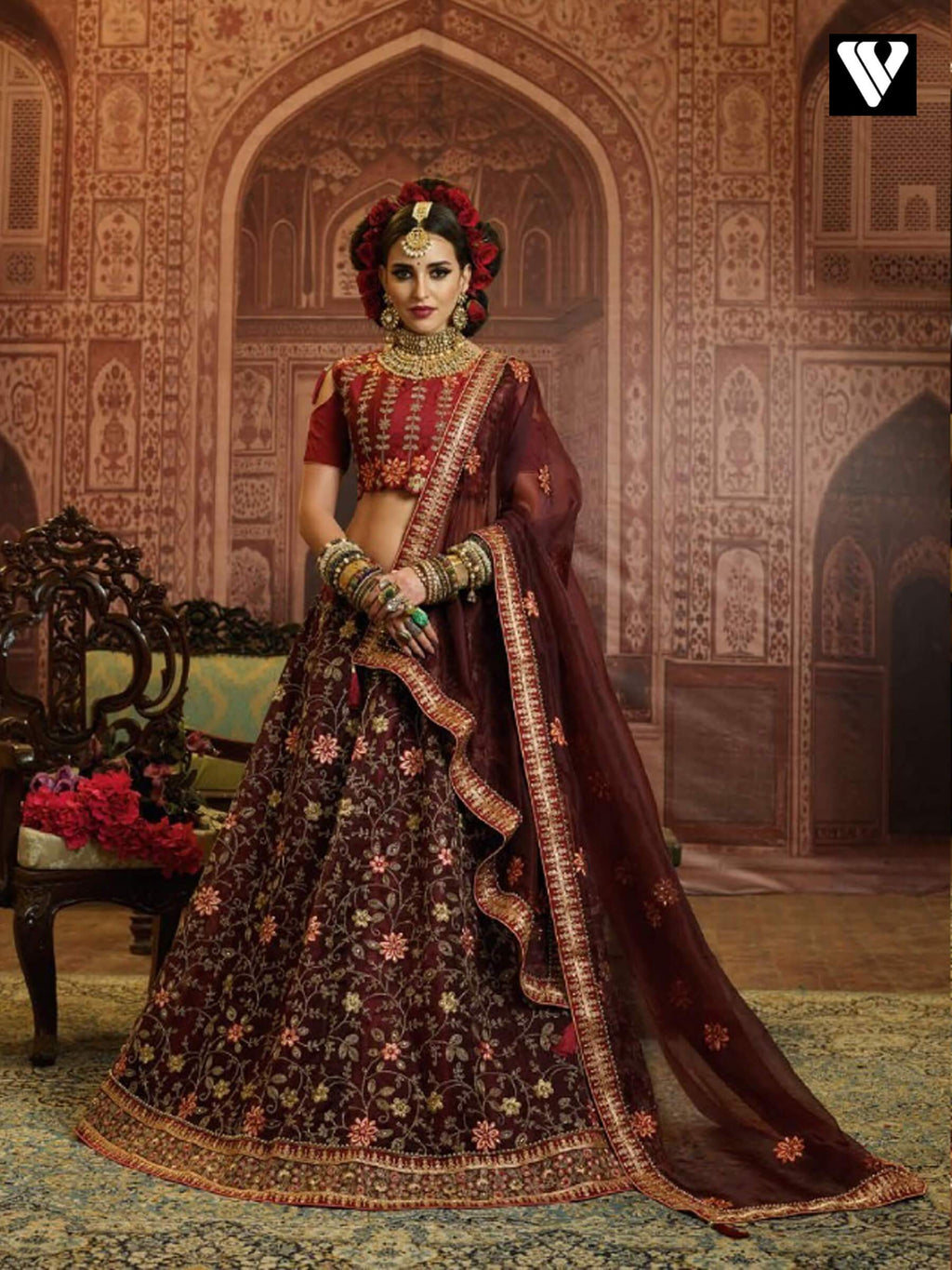Maroon Organza Wedding Wear Heavy Embroidery Work Lehenga Choli