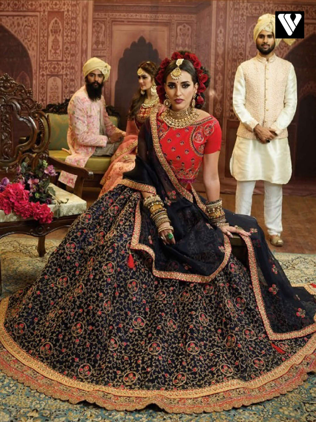 Black Organza Wedding Wear Heavy Embroidery Work Lehenga Choli