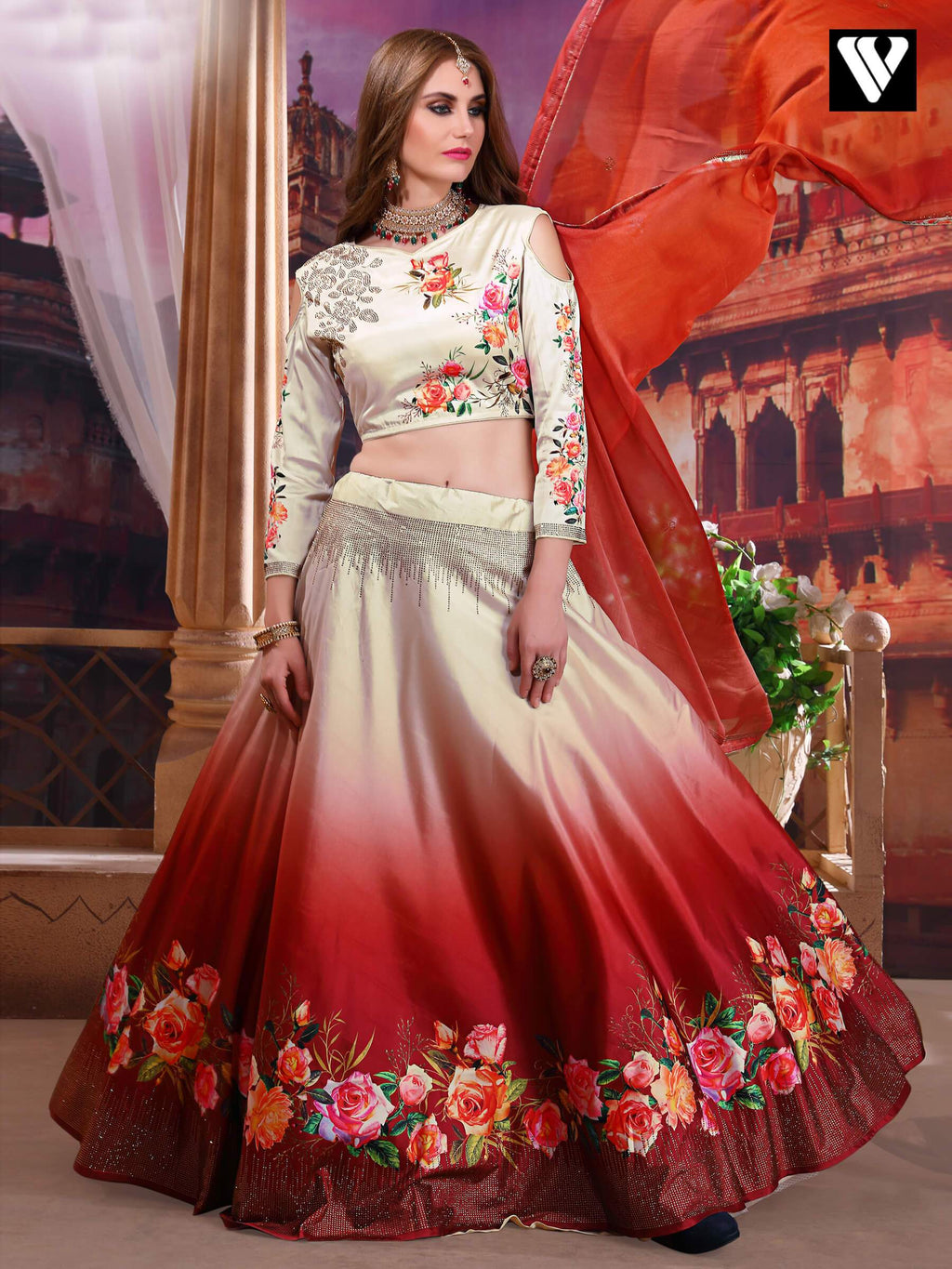 Beige and Crimson Satin Silk Lehenga Choli