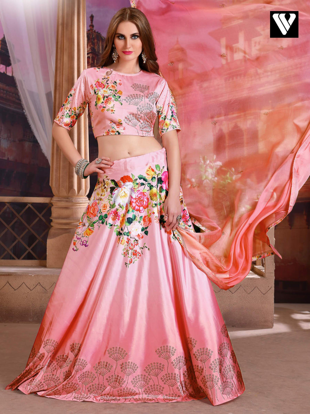 Pink Bridal Satin Silk Lehenga Choli