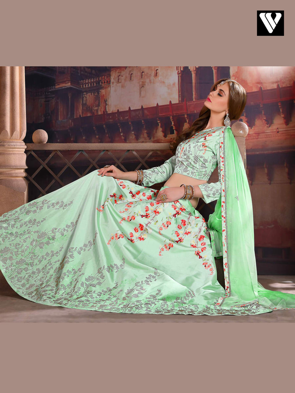 Zari Satin Silk Lehenga Choli in Sea Green