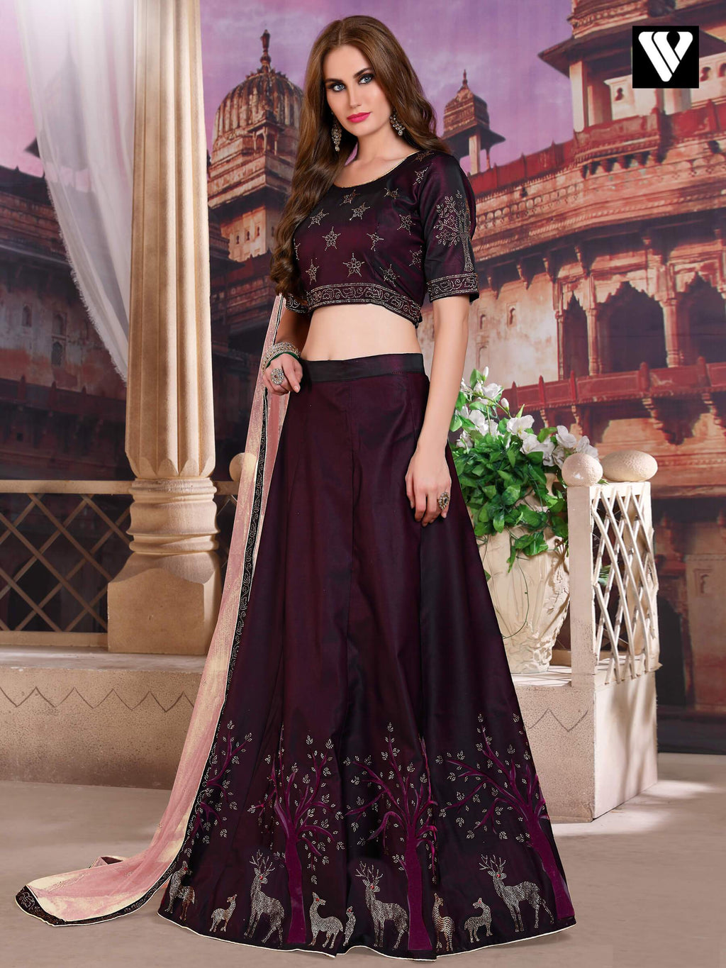 Art Silk Embroidered Lehenga Choli in Wine