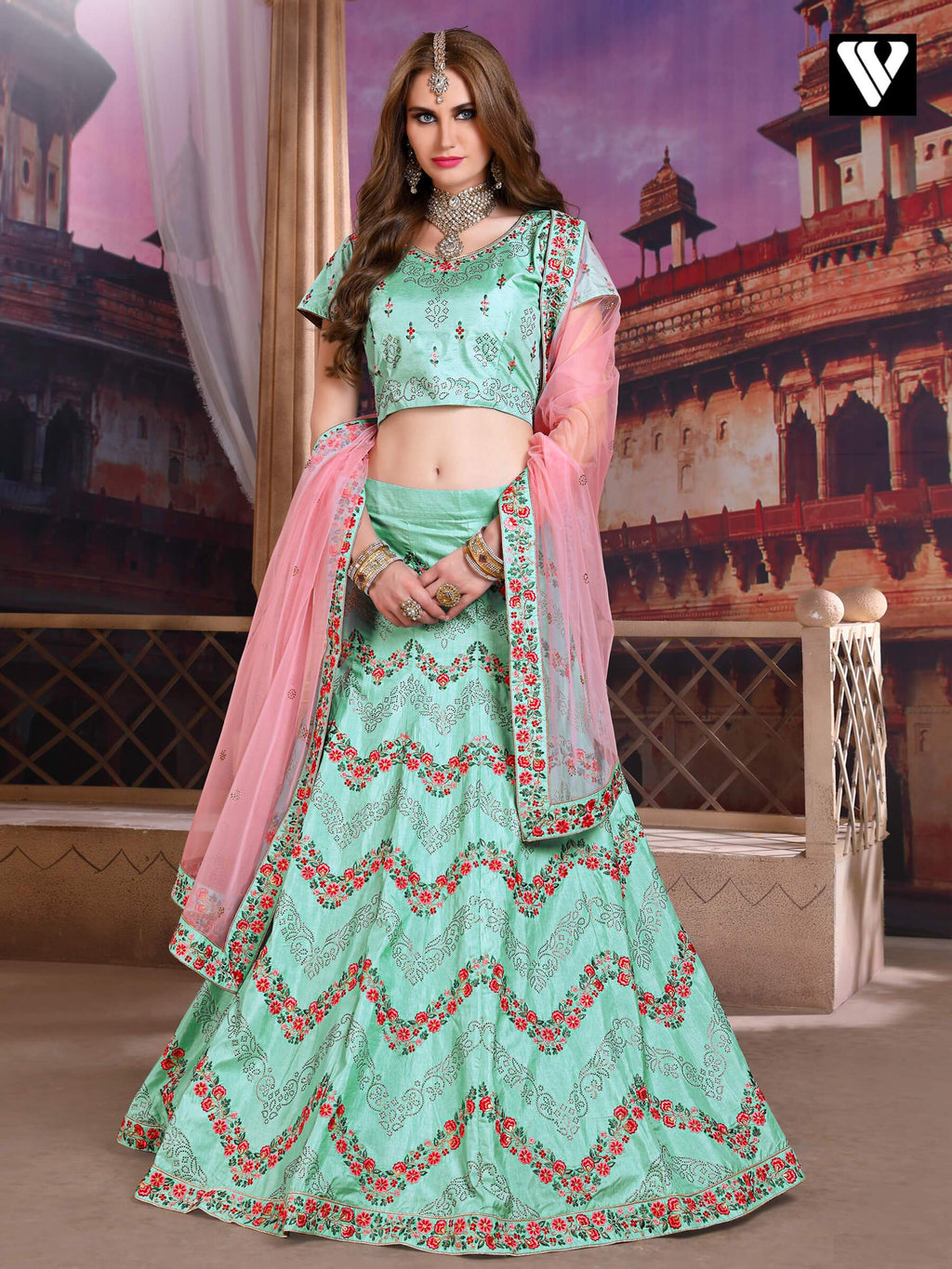 Art Silk Embroidered Blue Lehenga Choli