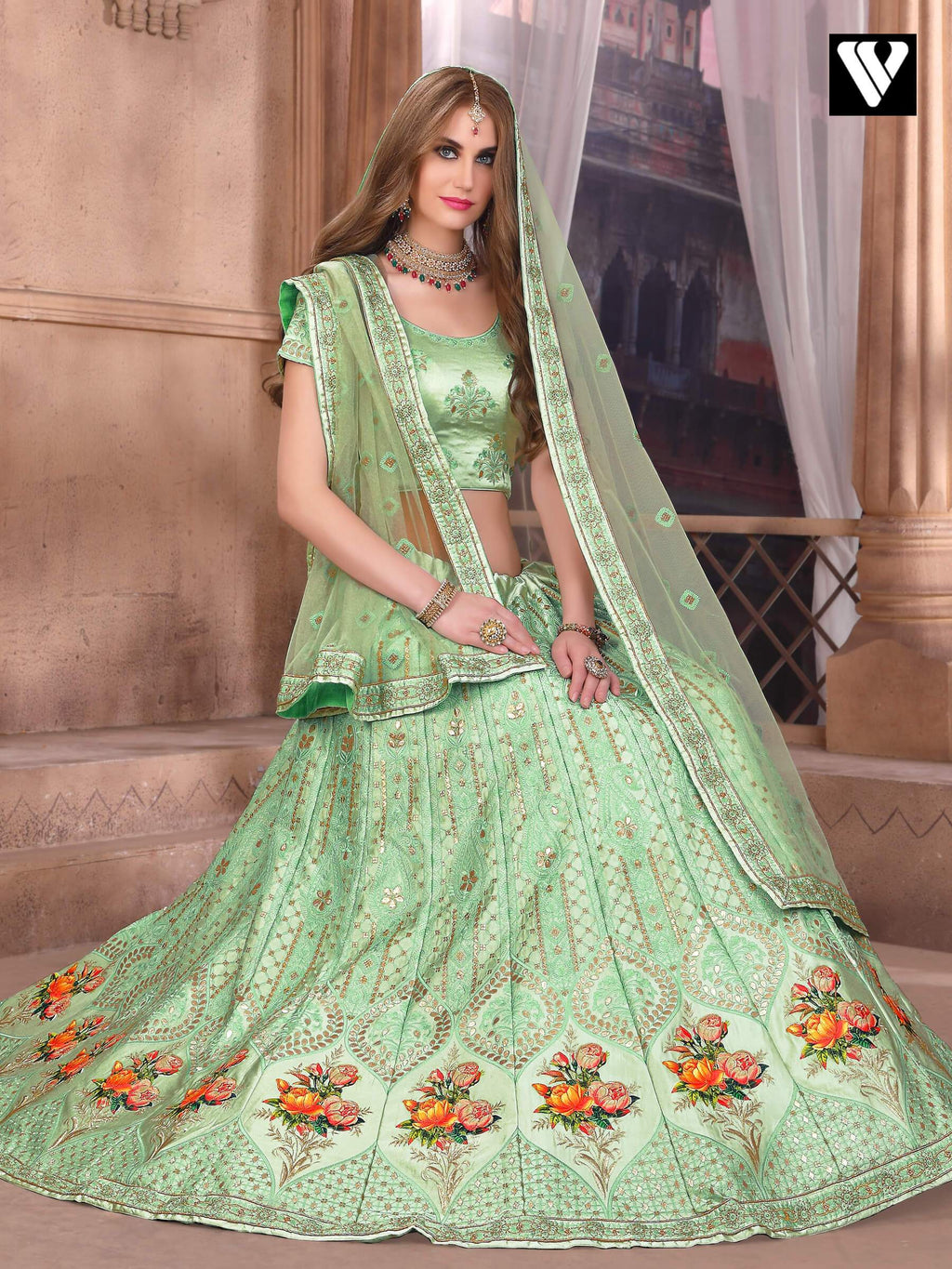 Resham Art Silk Lehenga Choli in Sea Green