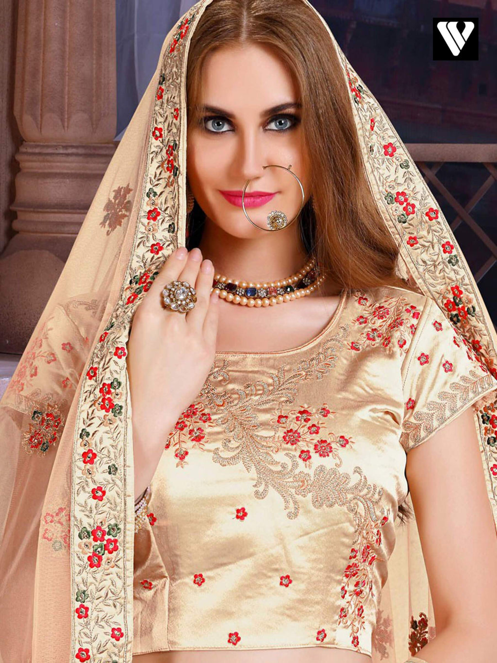 Beige Bridal Art Silk Lehenga Choli