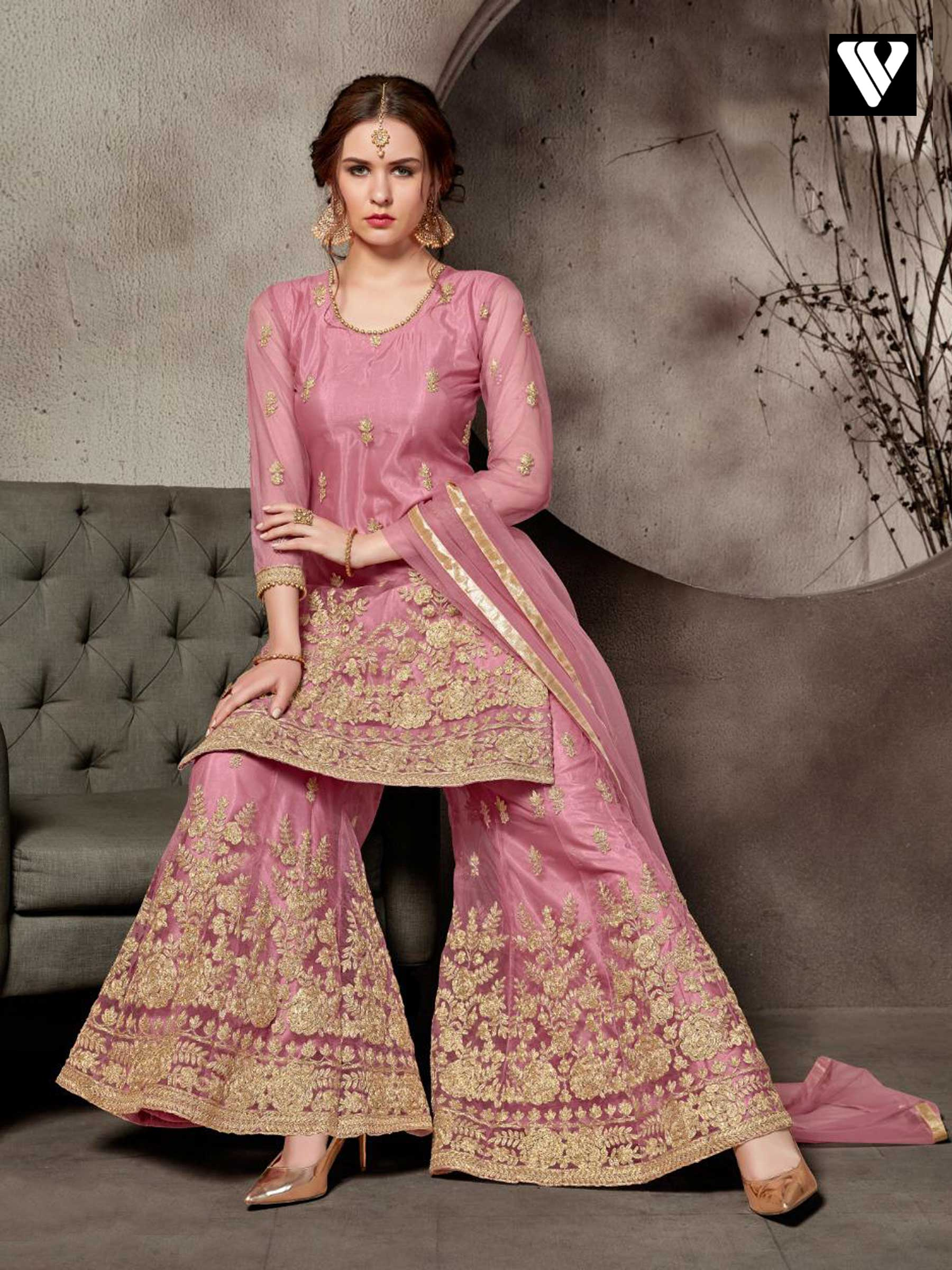 6c156d6d93 Pink Net Heavy Embroidery Work Party Wear Designer Sharara Salwar Suit
