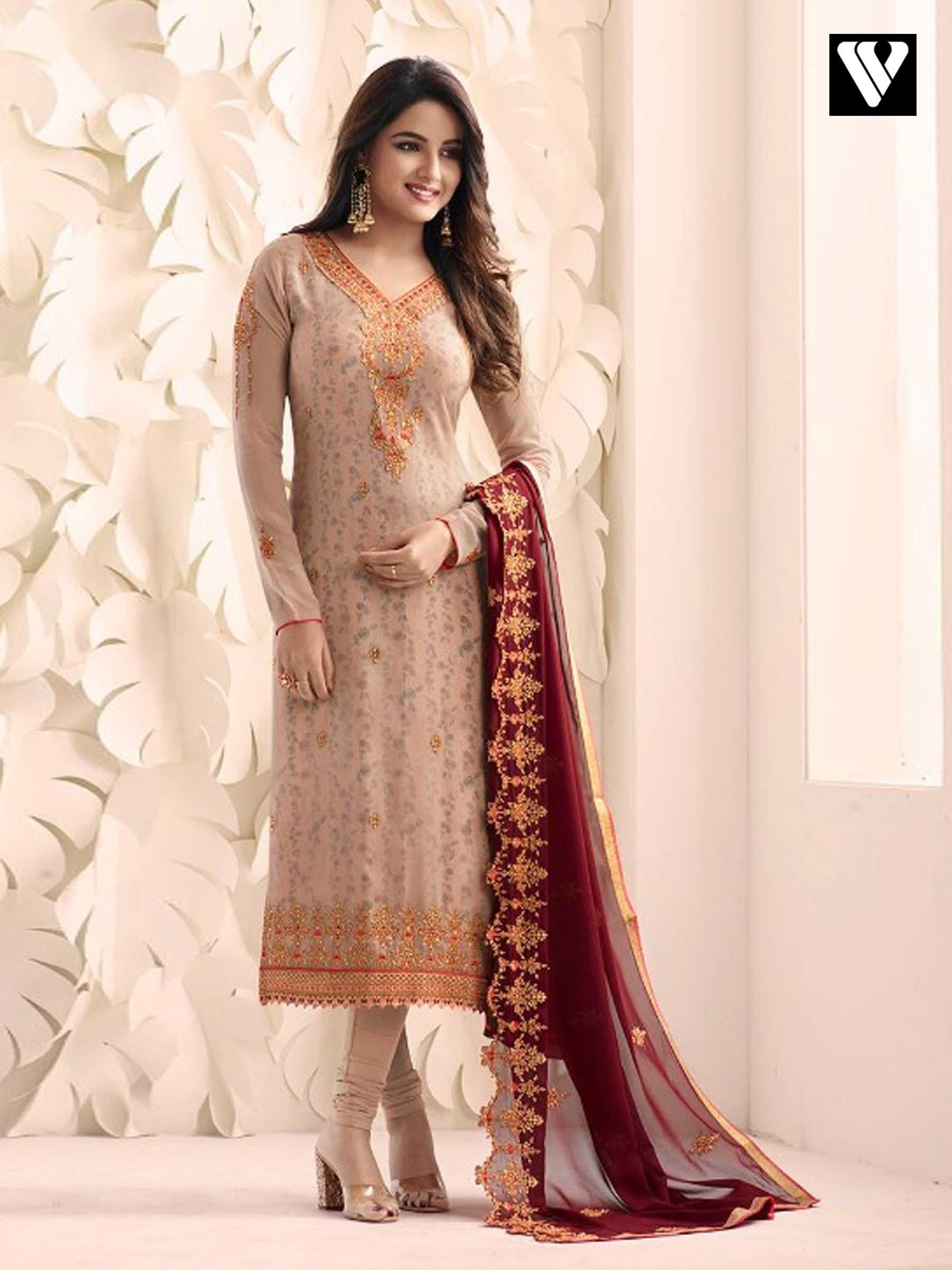 8cf419543c8 Buy Designer Bisque Color Georgette Heavy Embroidered Salwar Suit ...