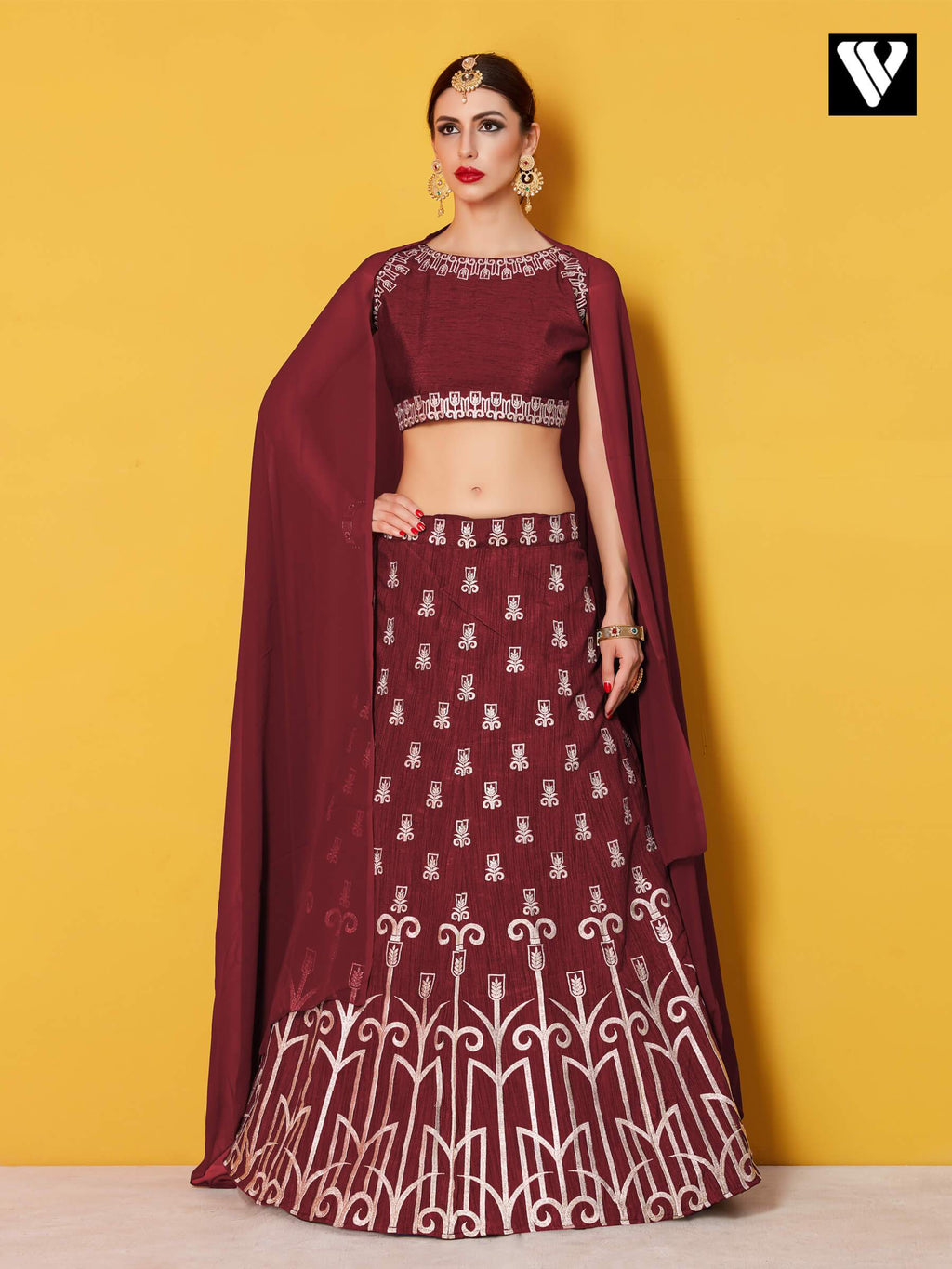 Art Silk with Silver Gold Embroidery Maroon Lehenga