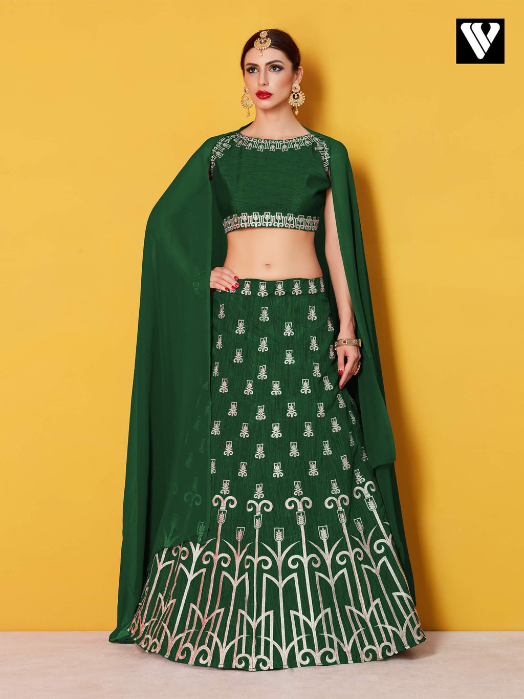 Art Silk with Silver Gold Embroidery Green Lehenga