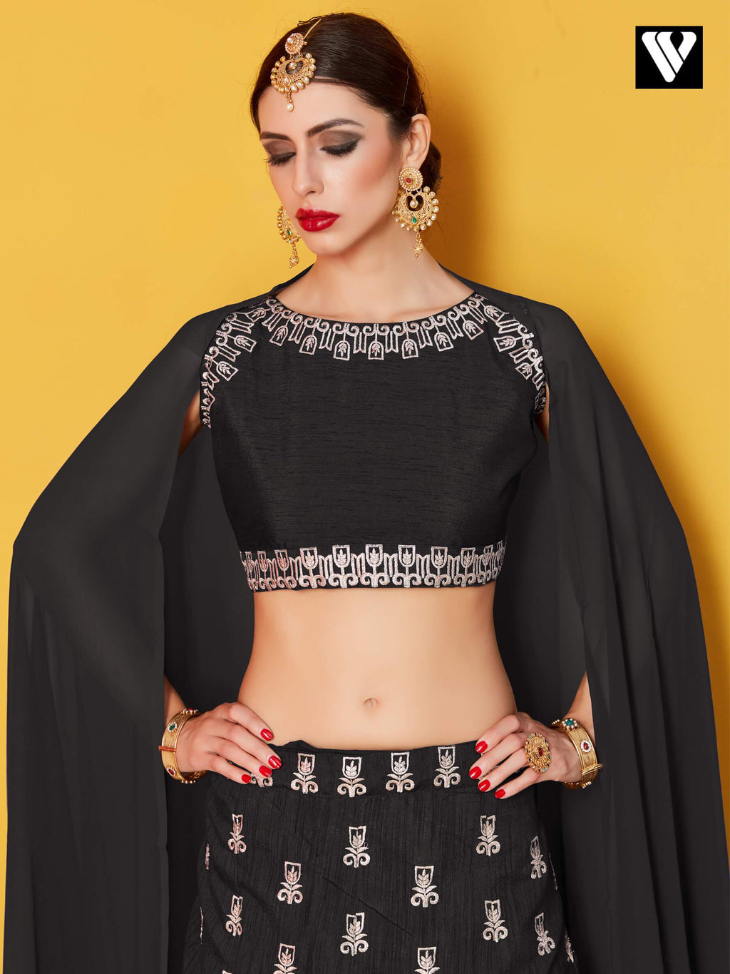 Art Silk with Silver Gold Embroidery Black Lehenga