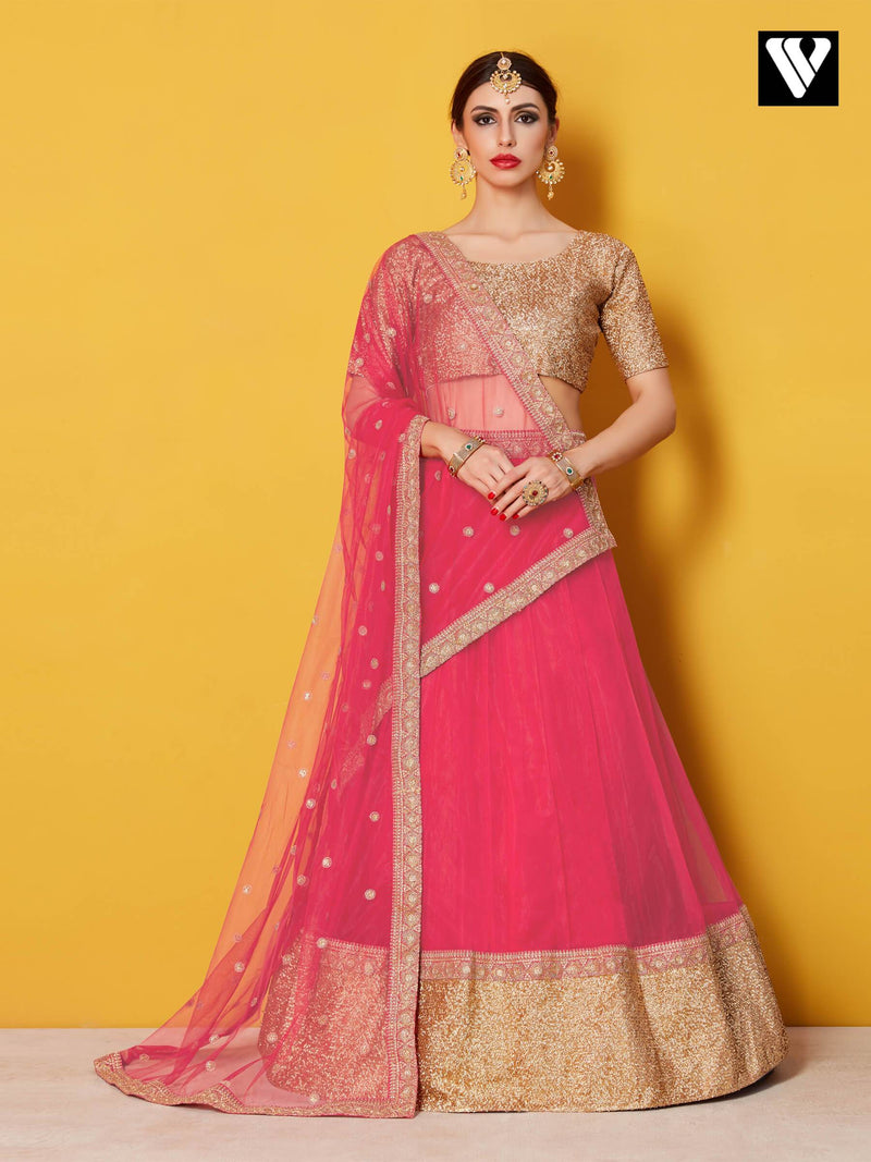 Beautiful Baby Pink Color Brocade Lehenga