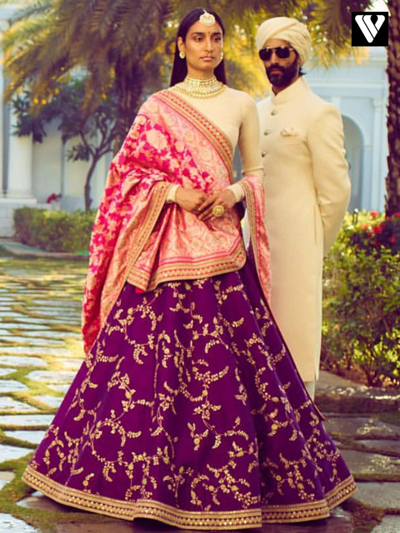 Designer Rajwadi Wedding Look Hot Pink and Beige Embroidered Lehenga Choli
